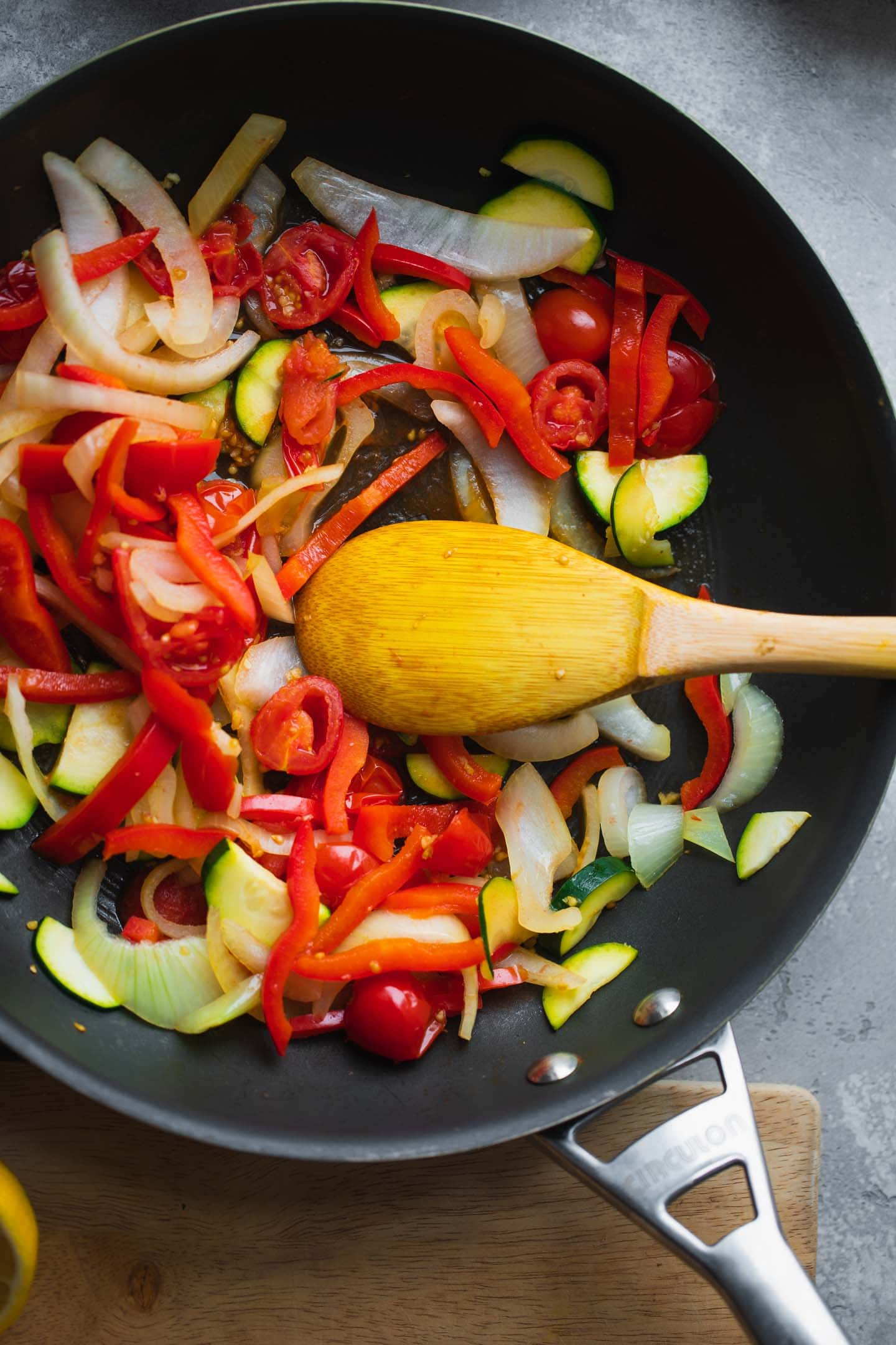Vegetables in a large pan