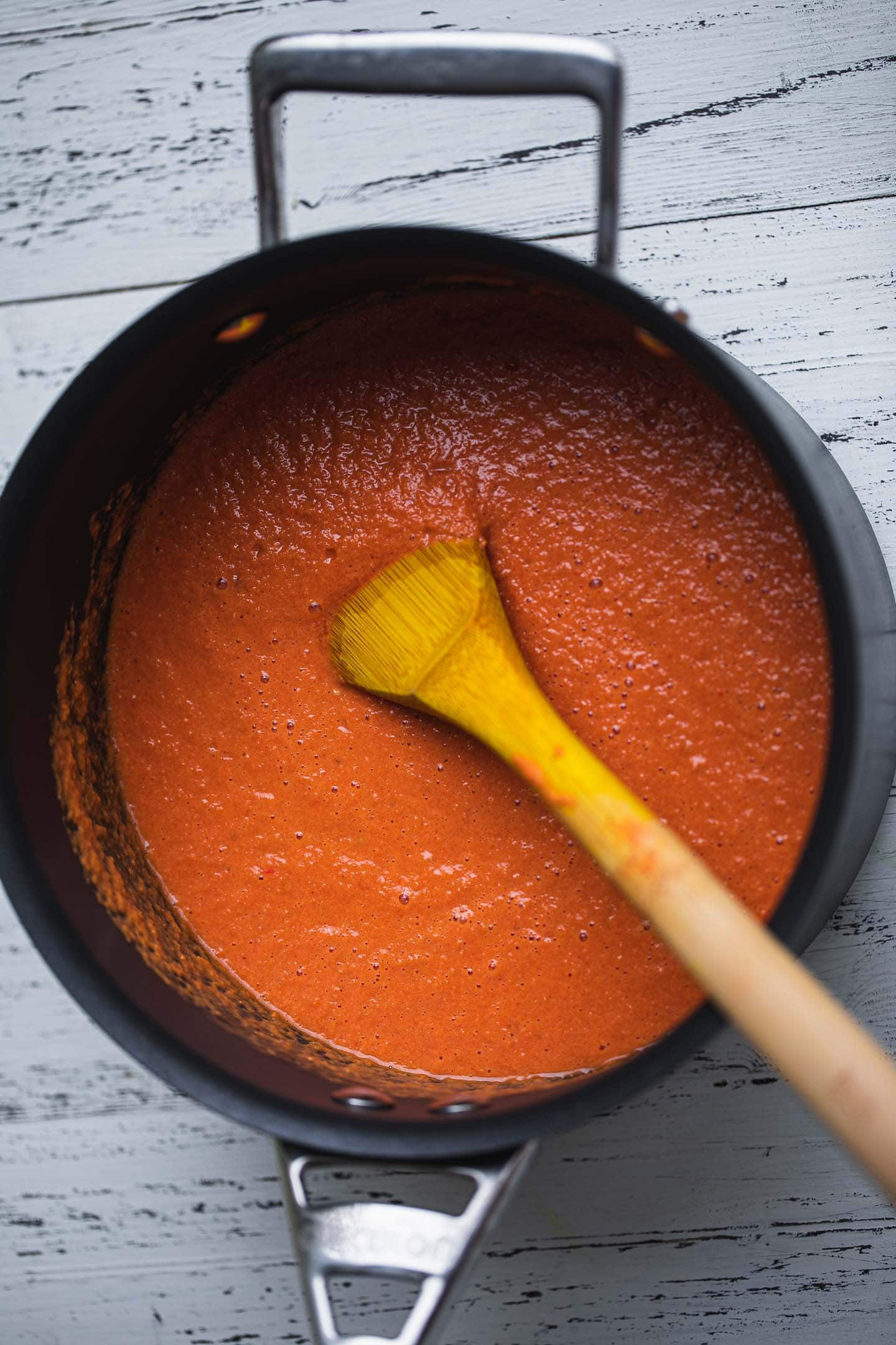 Dairy-free tomato bisque in a saucepan