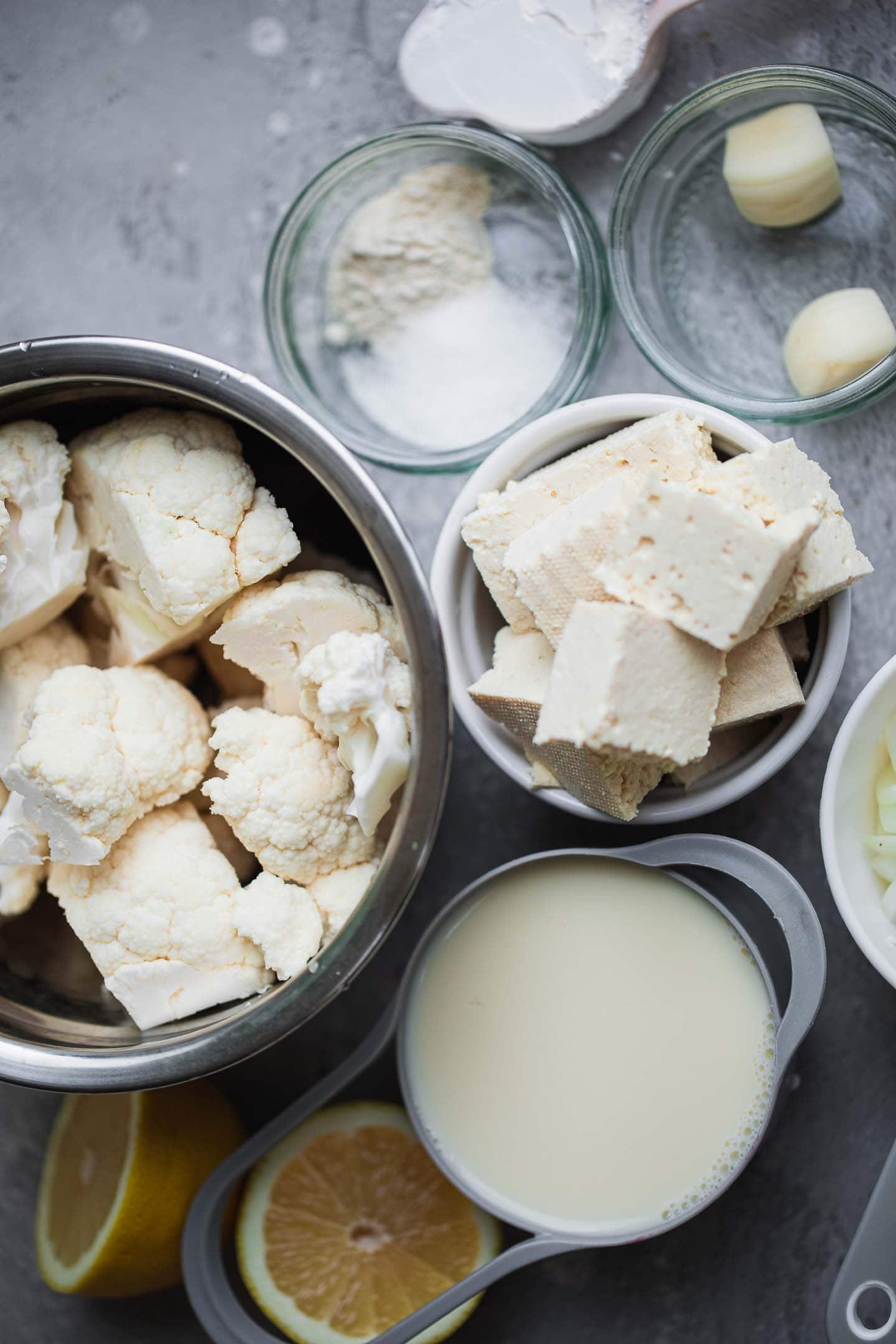 Ingredients for cauliflower Alfredo