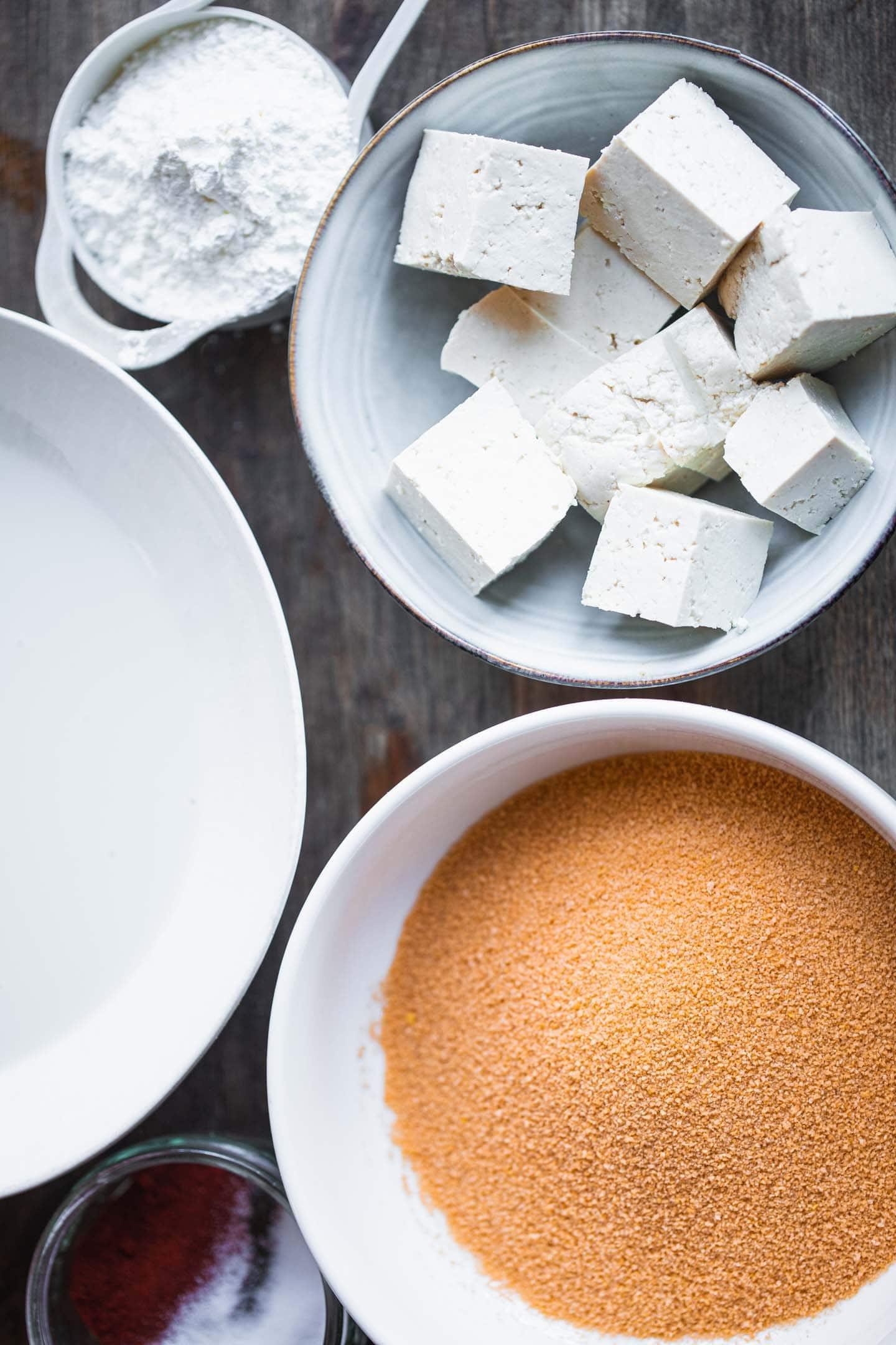 Ingredients for crispy fried tofu