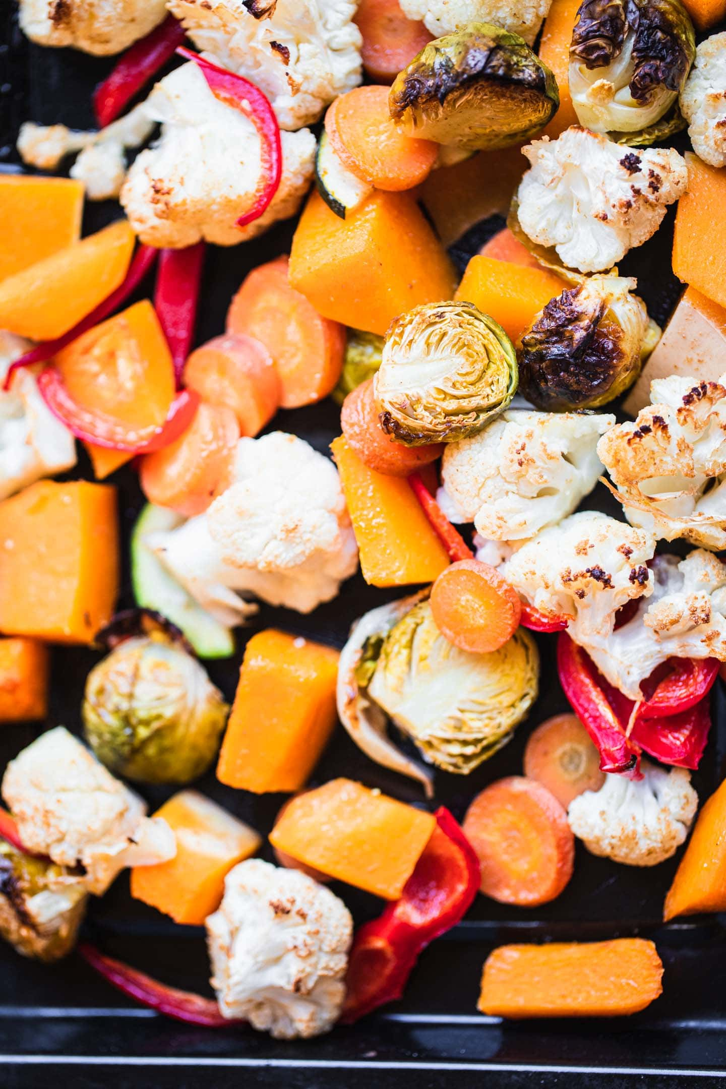 Roasted vegetables on a baking tray