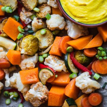 Vegan Roasted Vegetables With Turmeric Cashew Sauce