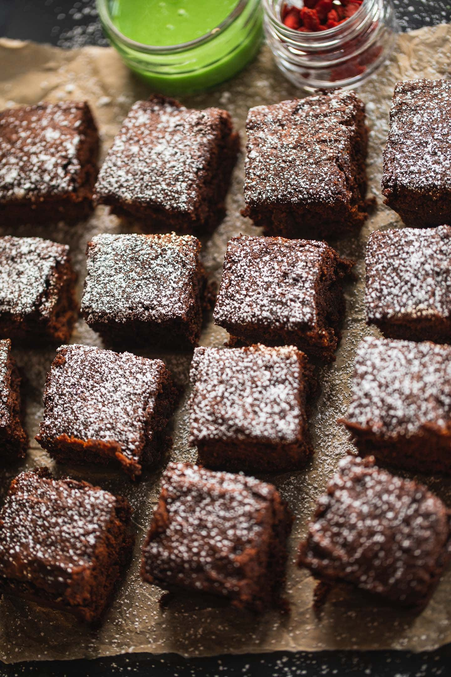 Dairy-free peppermint brownies on a baking tray