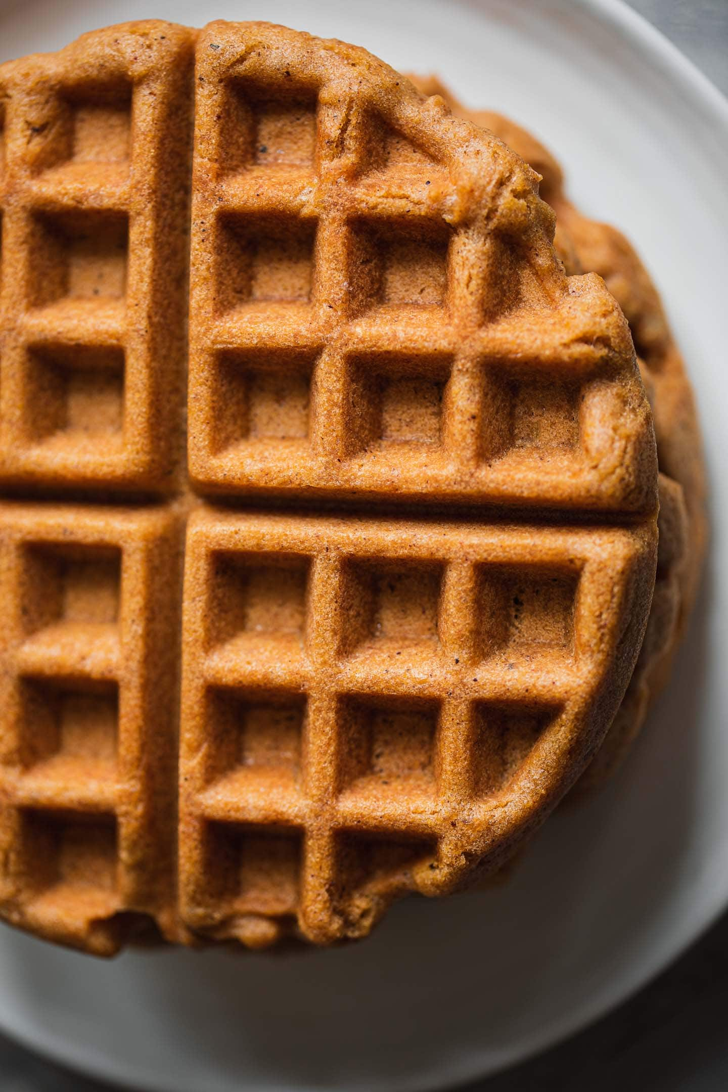 Gingerbread waffles on a plate