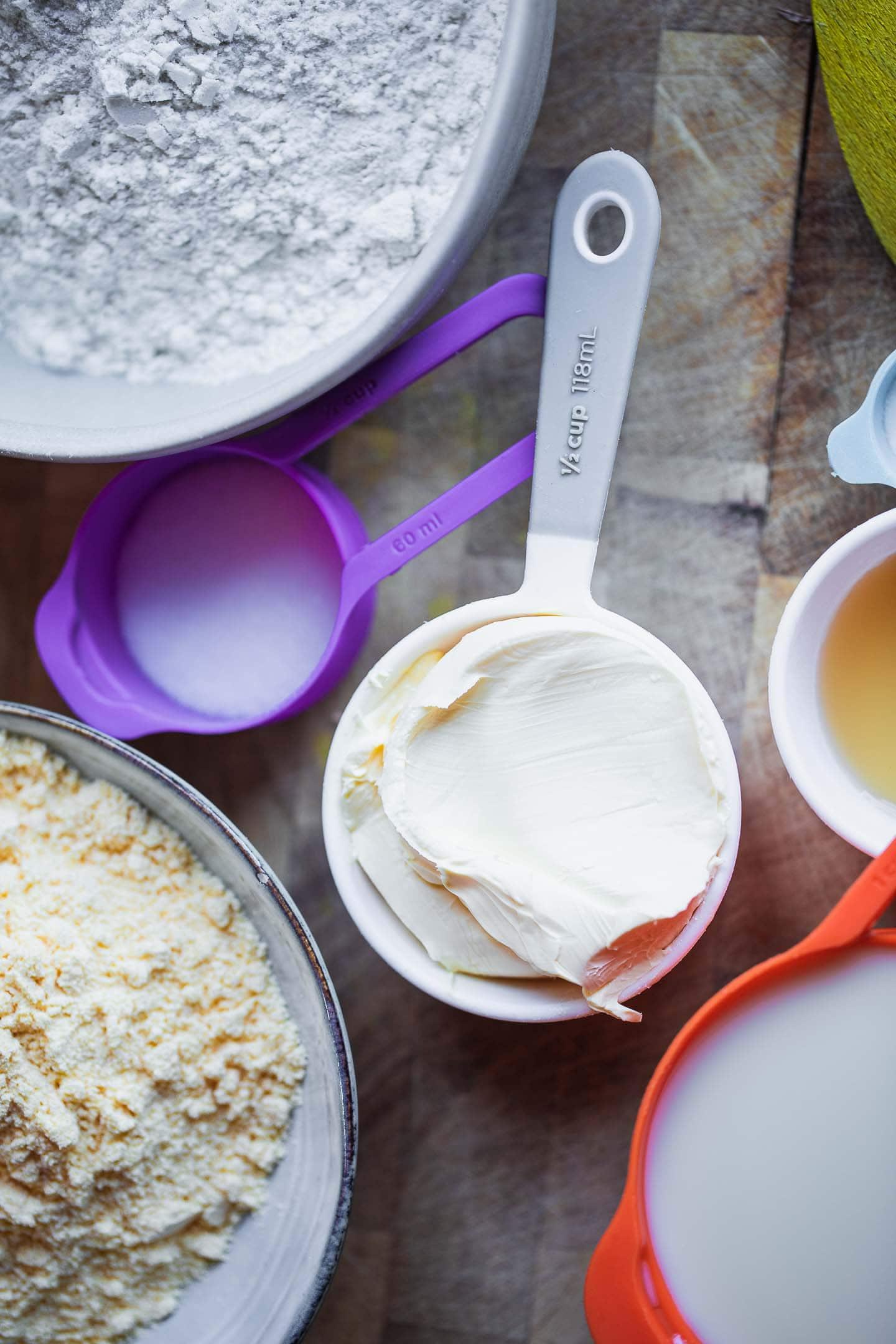 Ingredients for gluten-free vegan biscuits