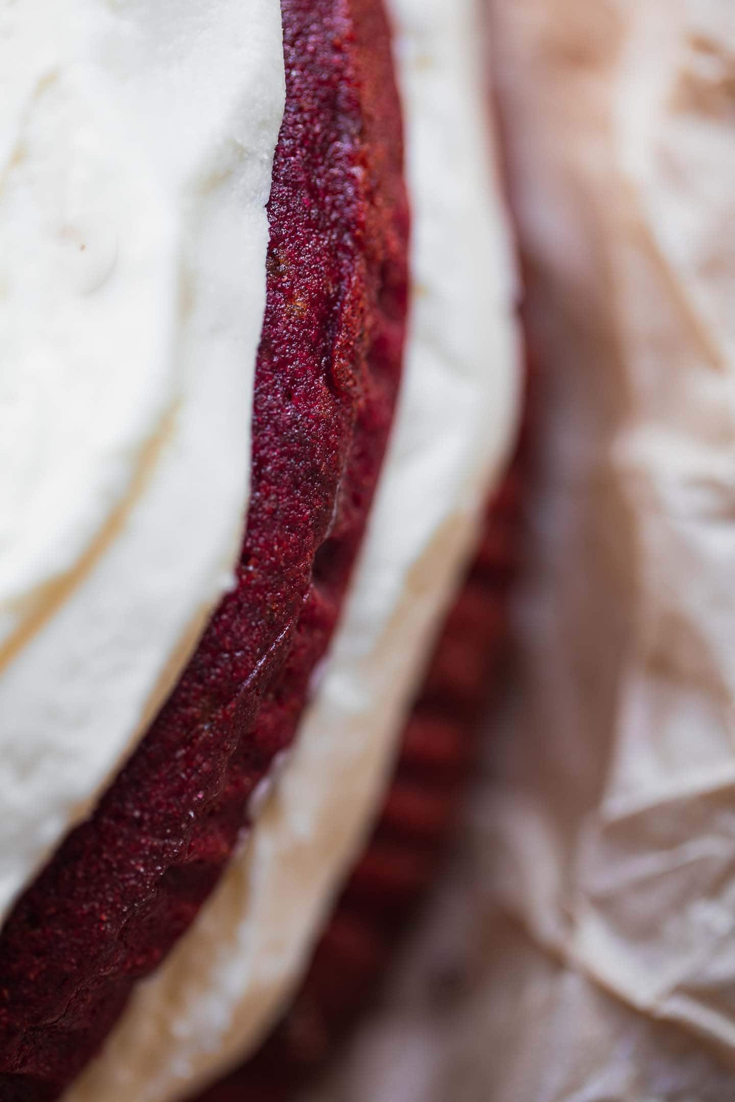 Layered red velvet cake