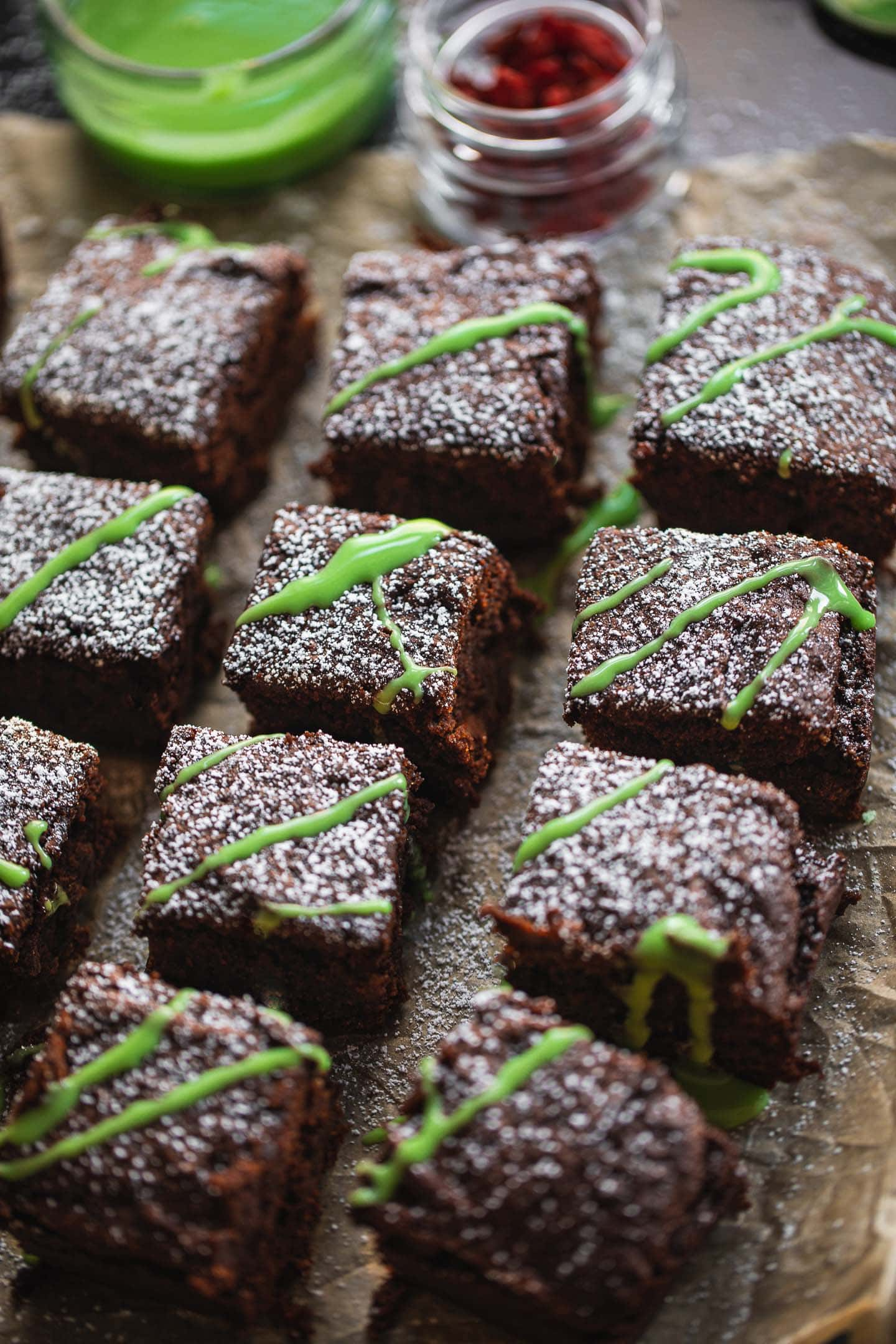 Peppermint icing with vegan brownies