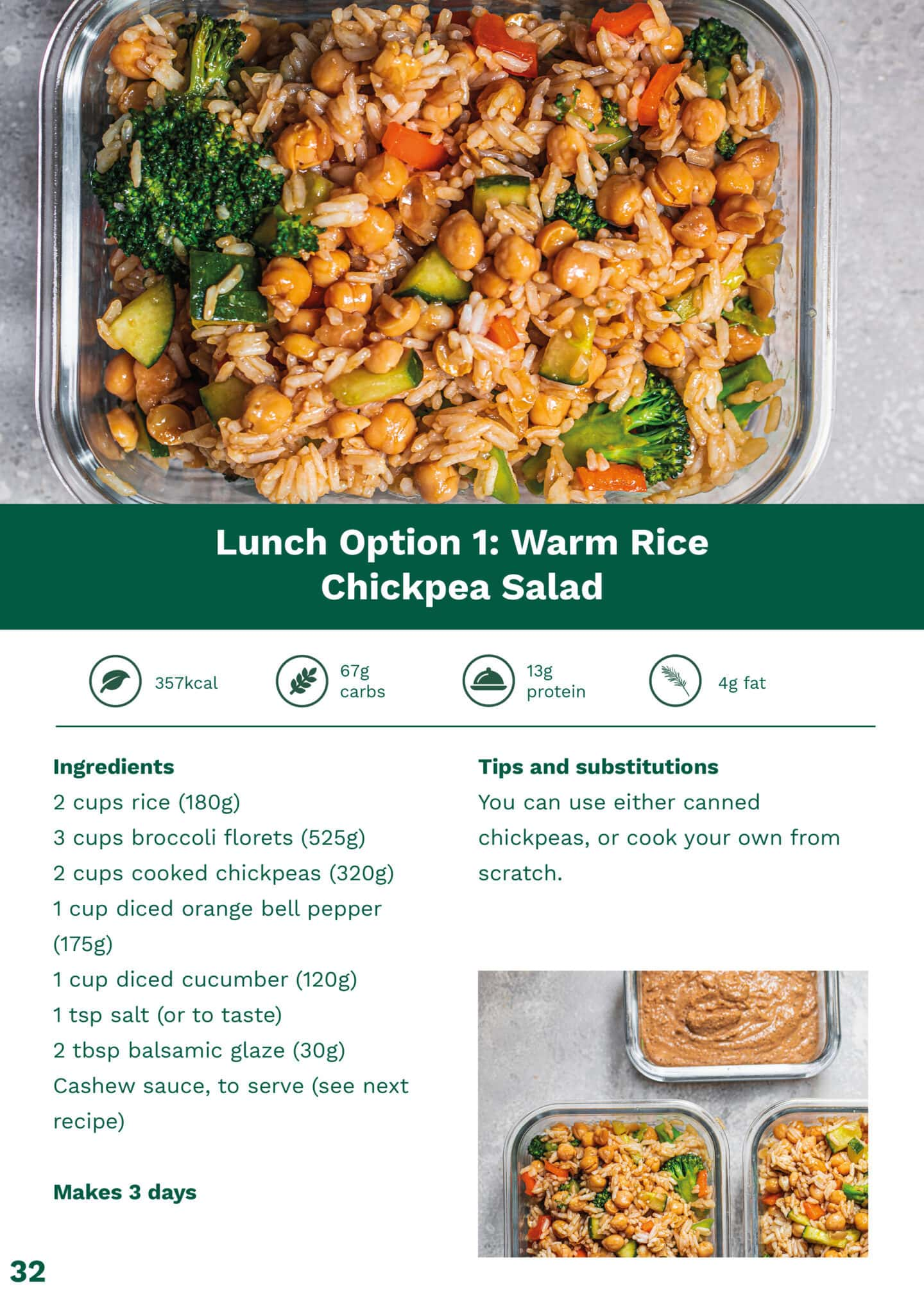 Warm rice chickpea salad