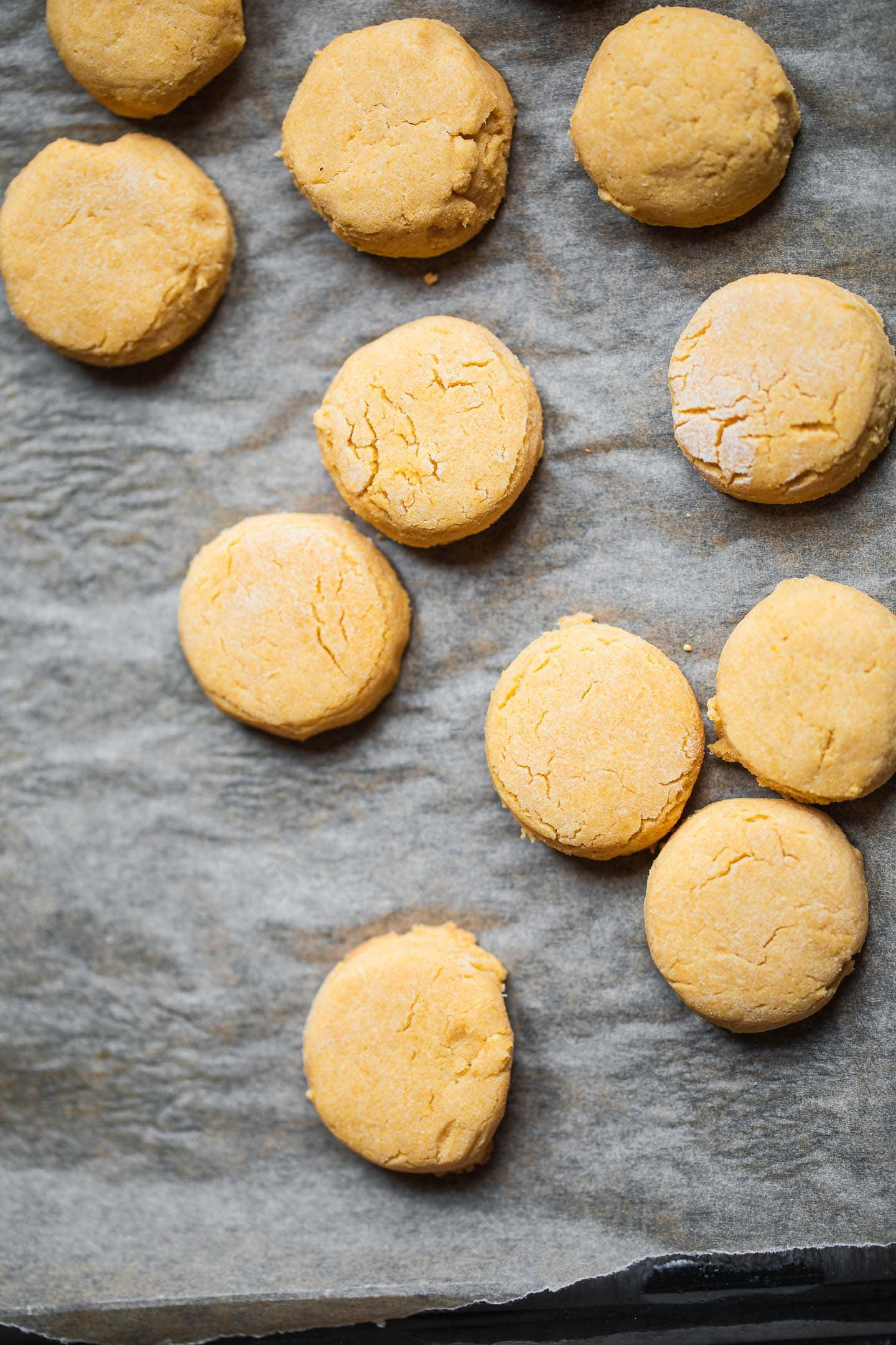 Vegan biscuits on a baking tray