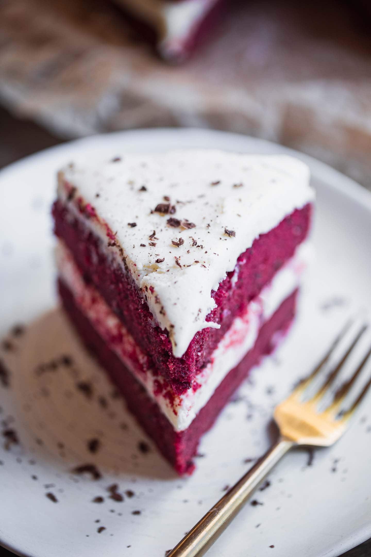 Vegan red velvet cake on a plate
