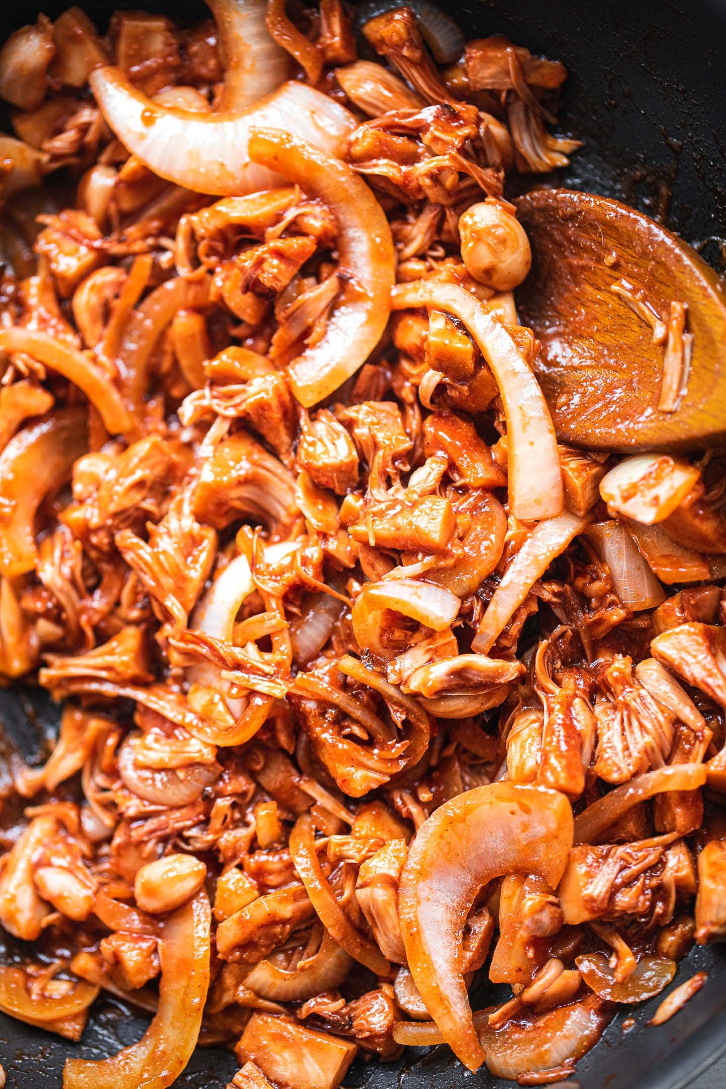 BBQ jackfruit in a pan
