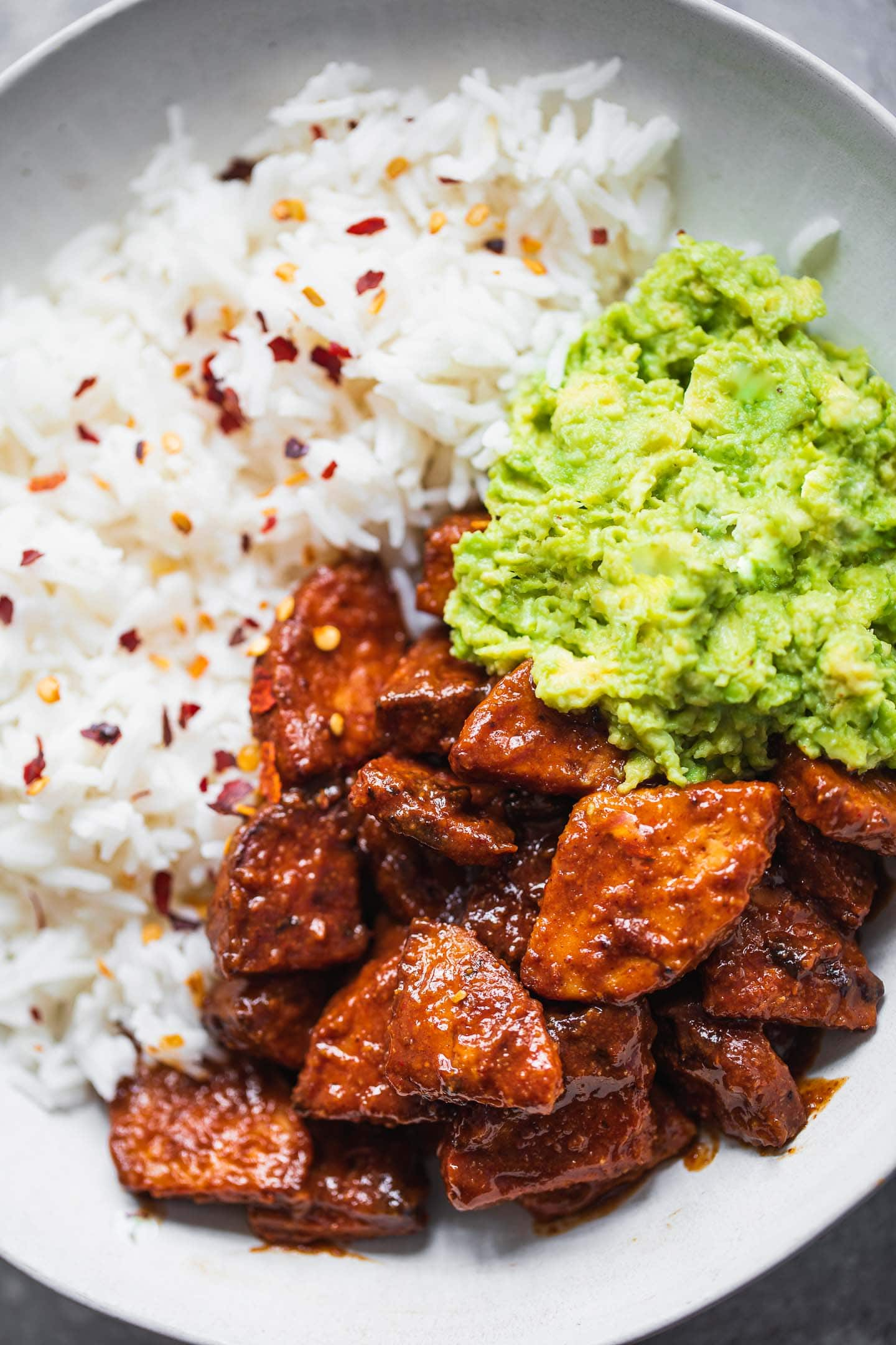 BBQ tempeh bowl with rice and avocado