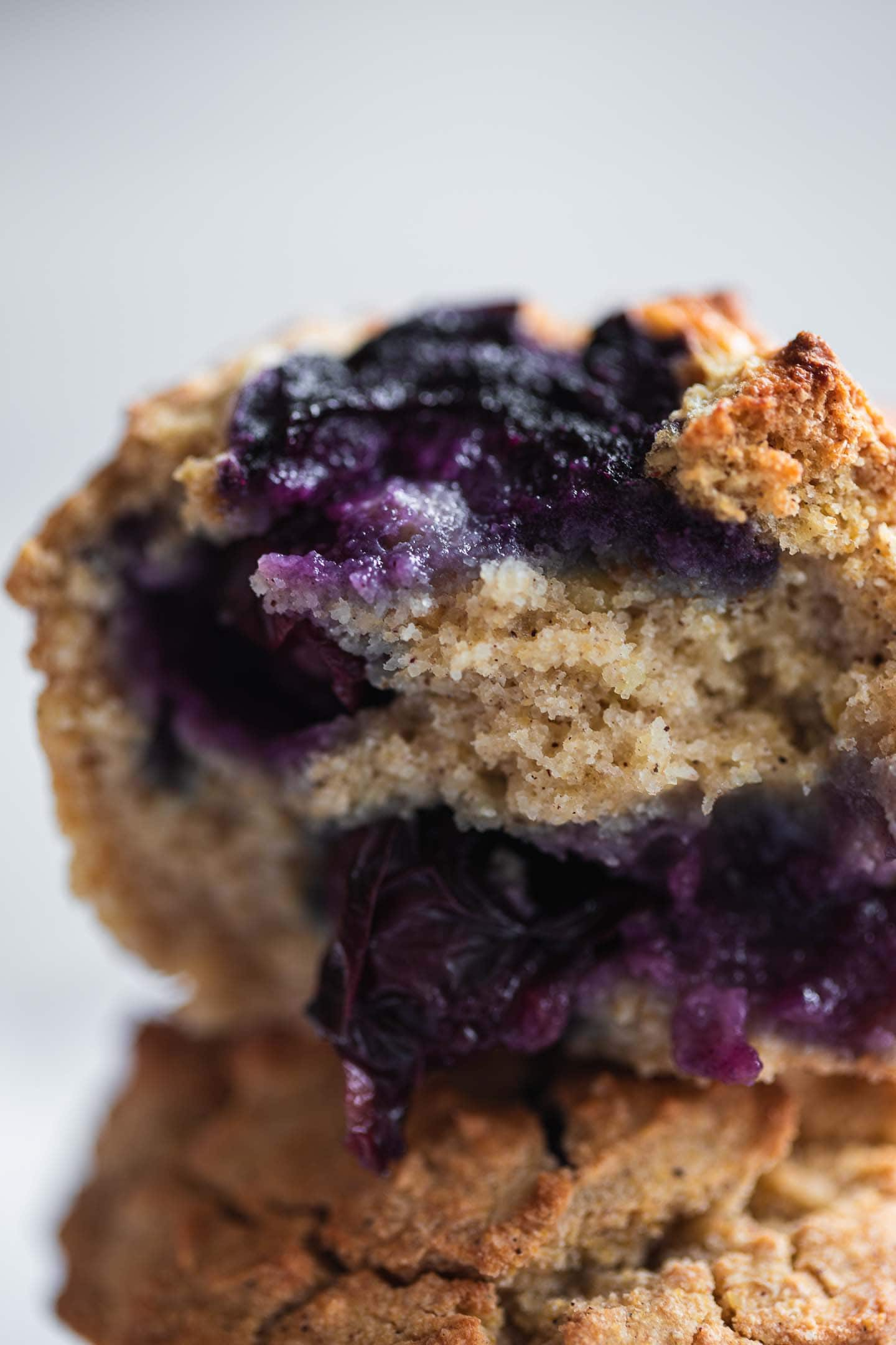 Closeup of vegan blueberry muffins