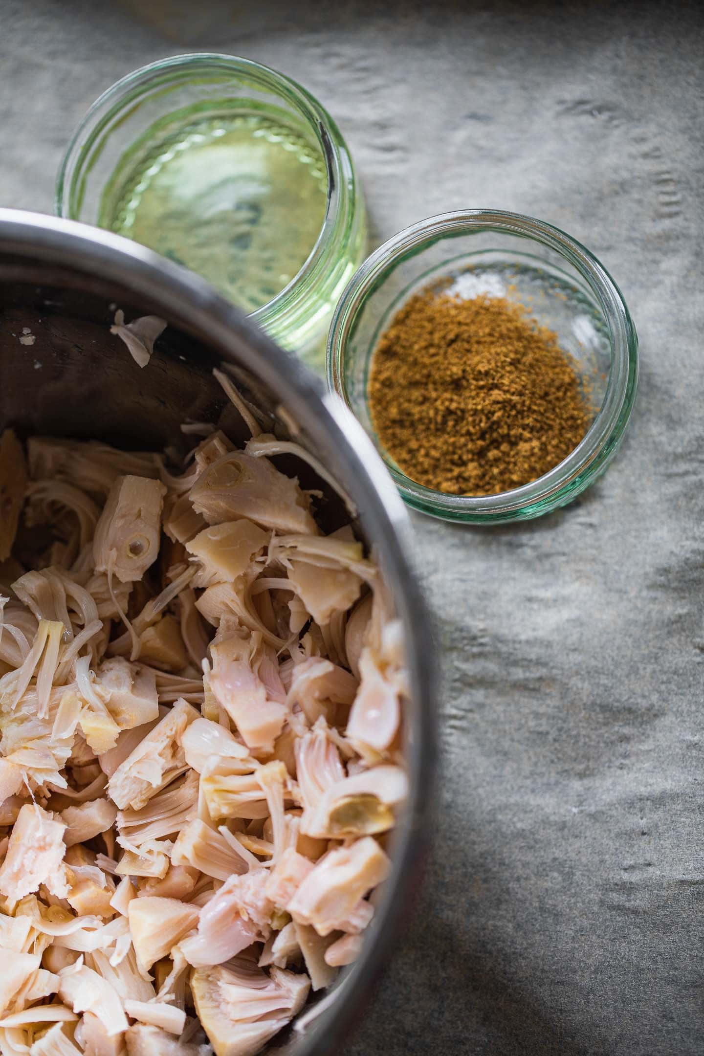 Ingredients for vegan BBQ jackfruit