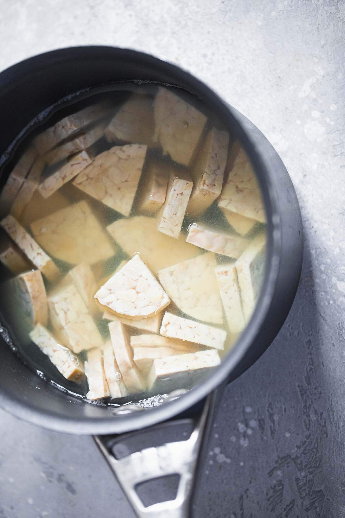 Tempeh in a saucepan