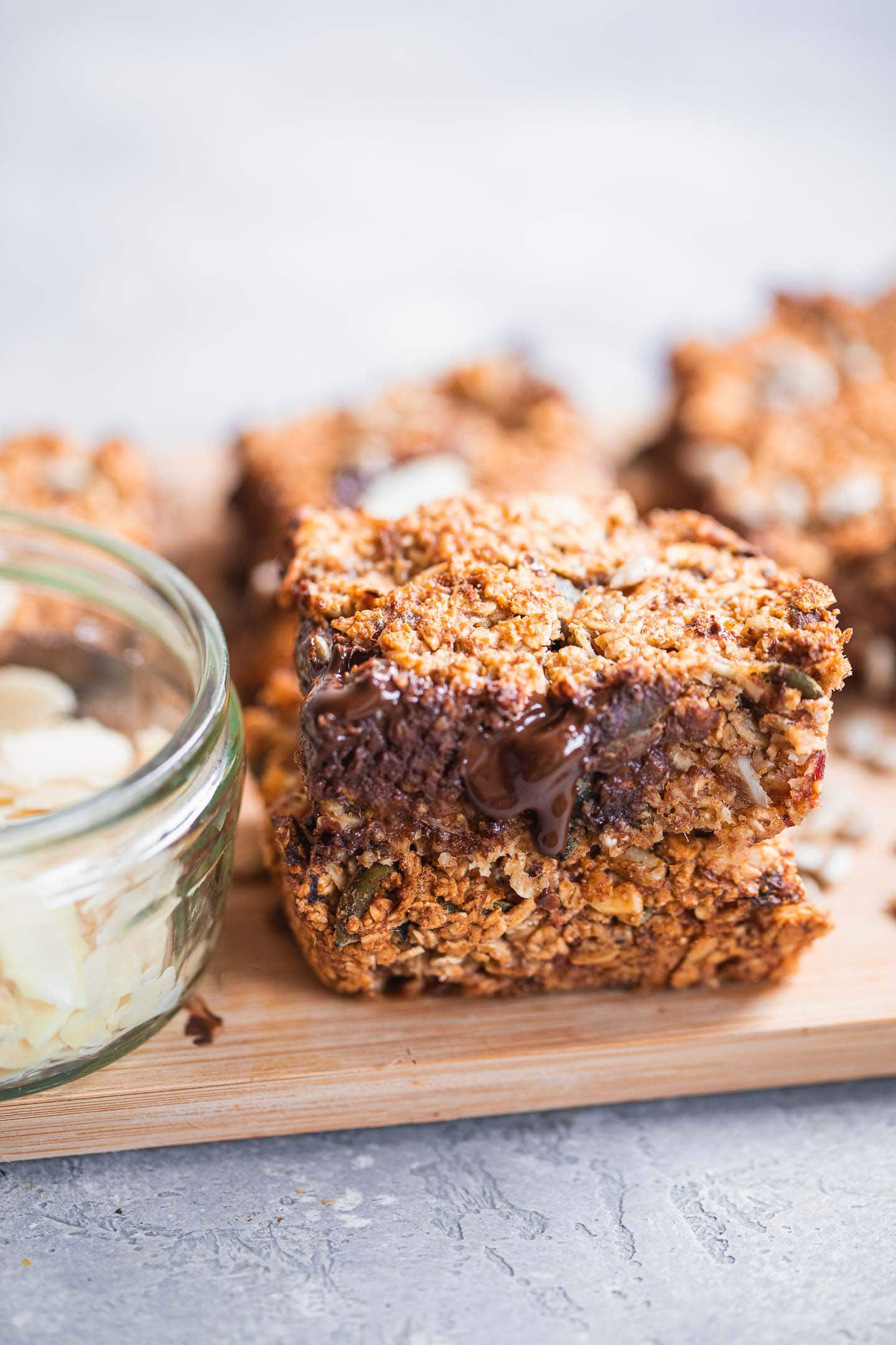 Gluten-free granola bars with chocolate