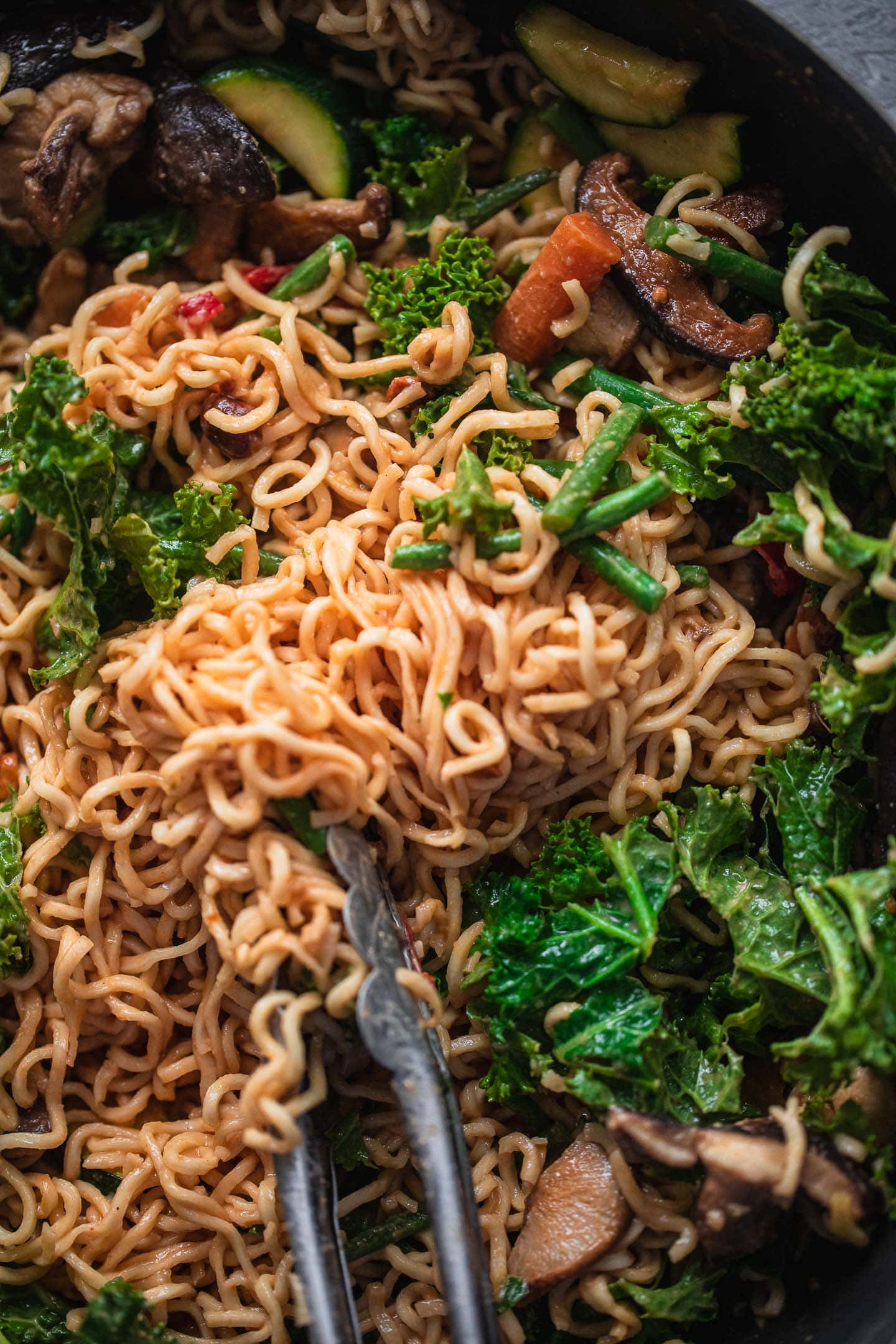 Vegan noodles with vegetables in a pan