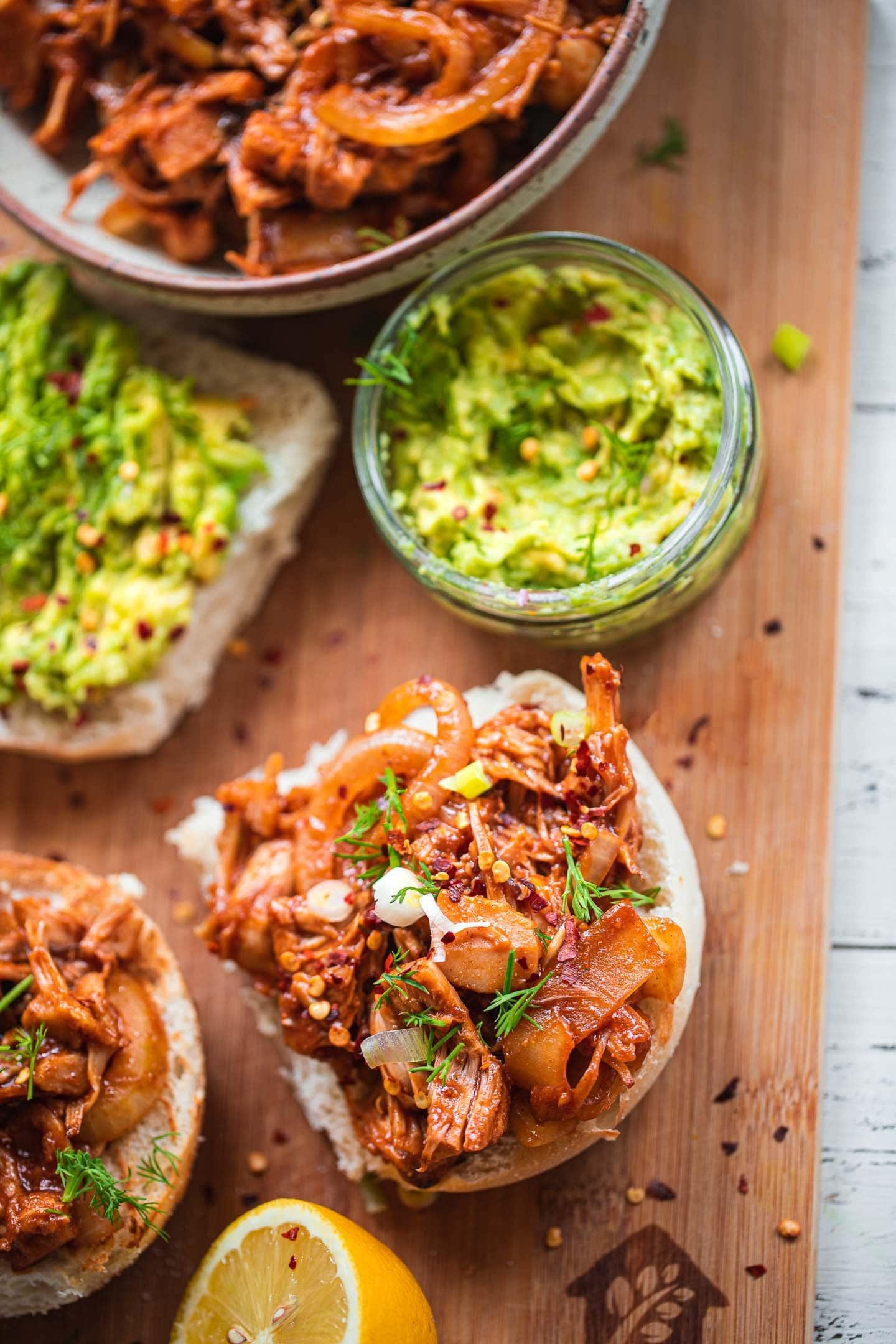 Vegan pulled jackfruit sandwiches with avocado