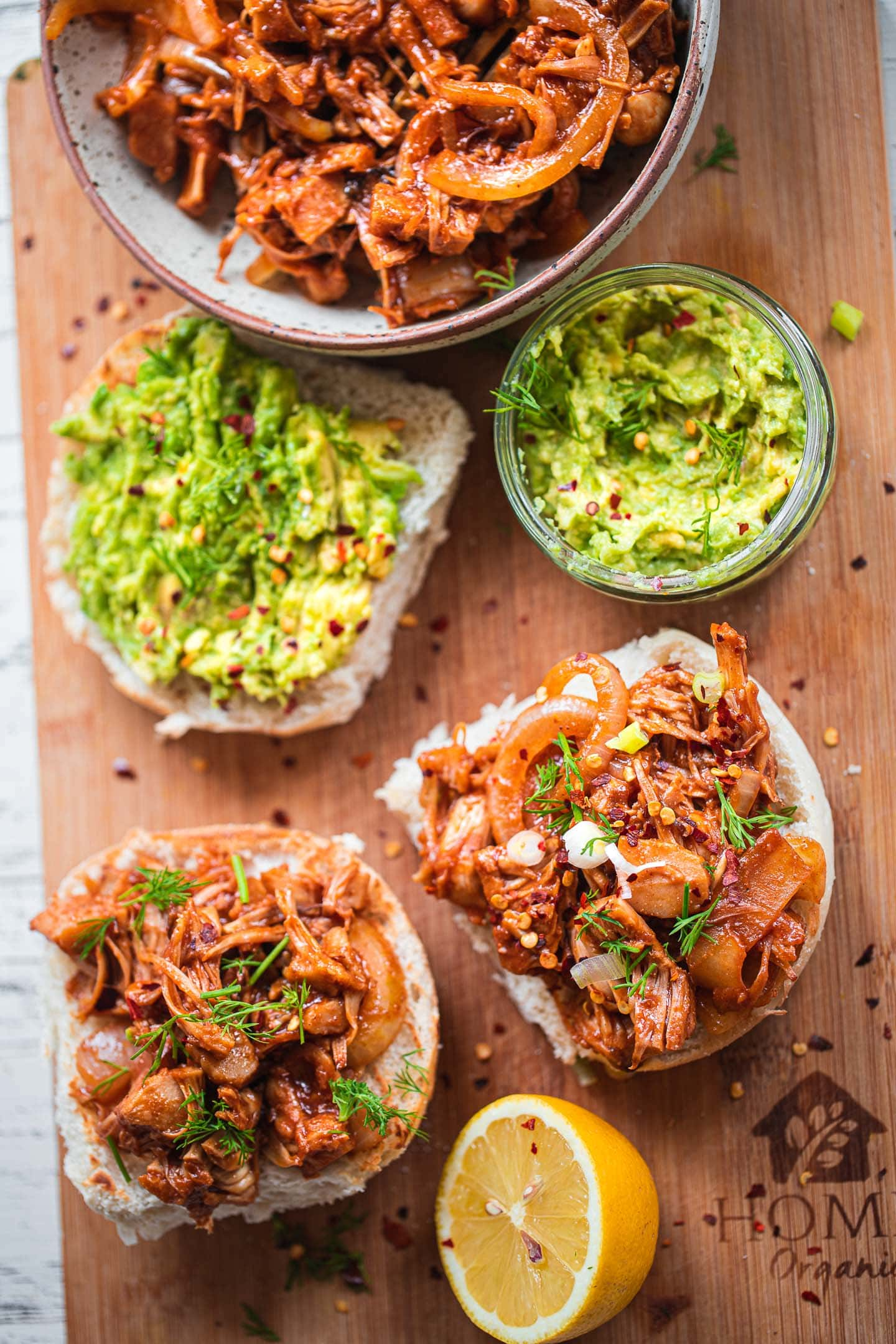 Vegan pulled 'pork' sandwiches with avocado