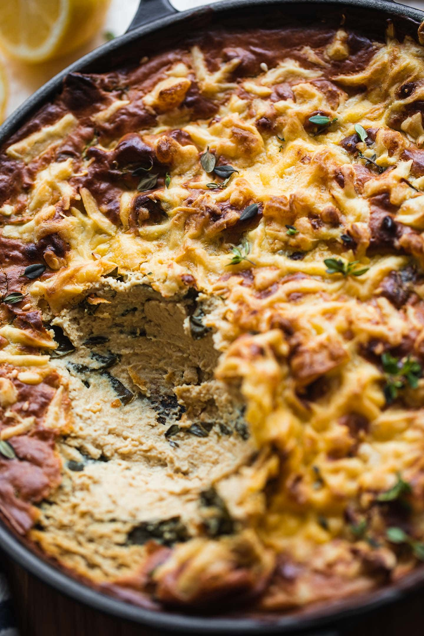 Cheesy vegan artichoke dip with spinach
