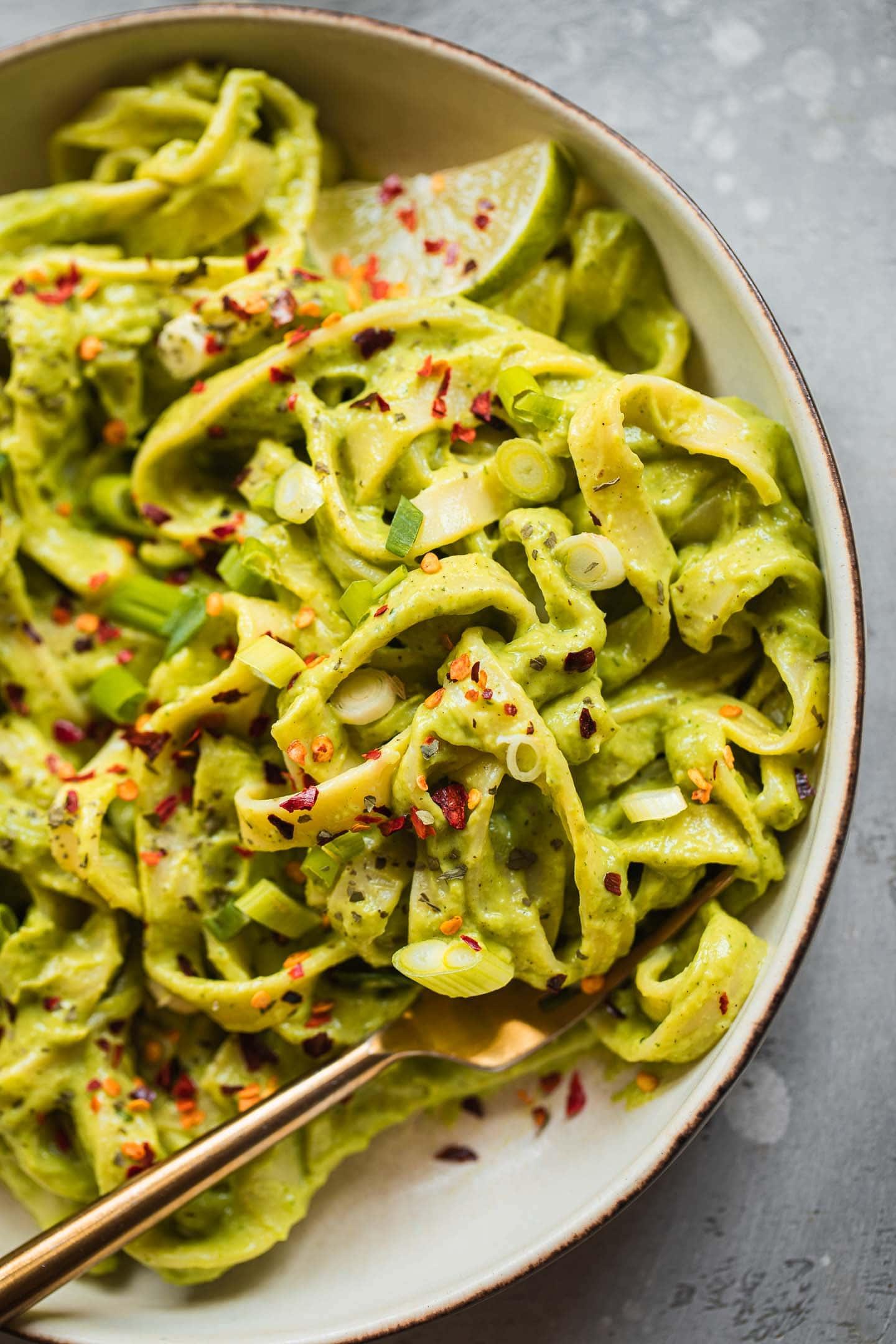 Closeup of vegan avocado pasta