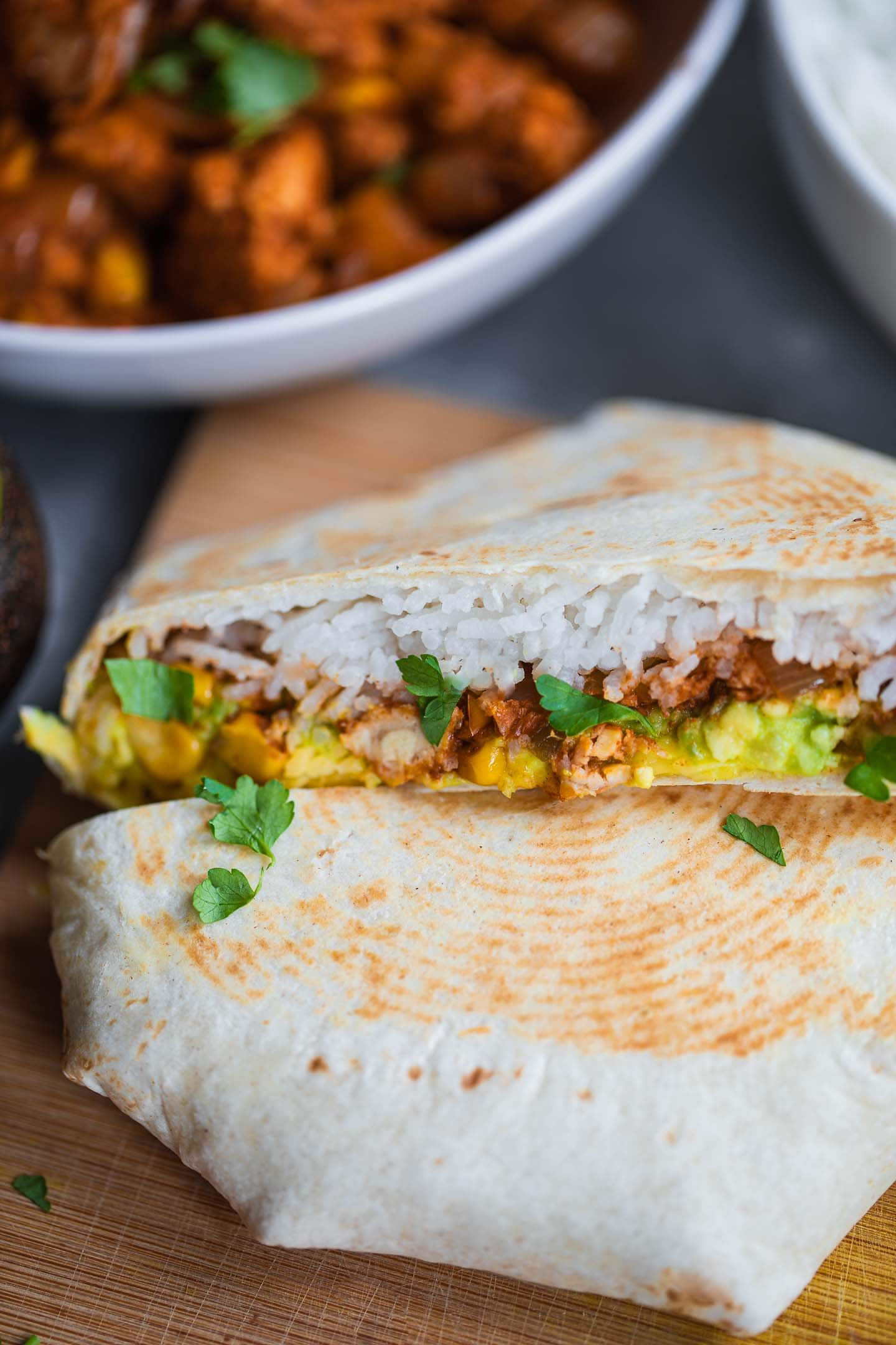 Crunchwrap with tempeh on a wooden board