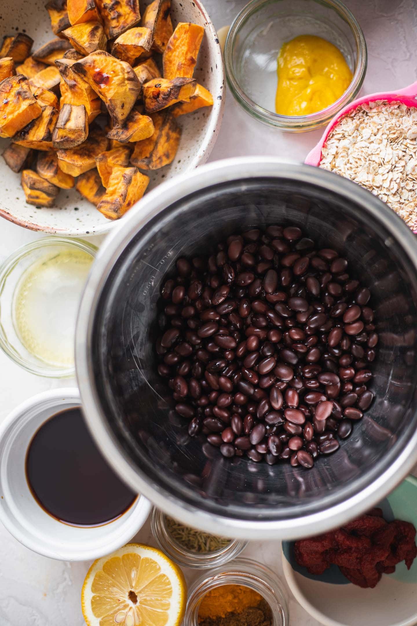 Ingredients for black bean burgers