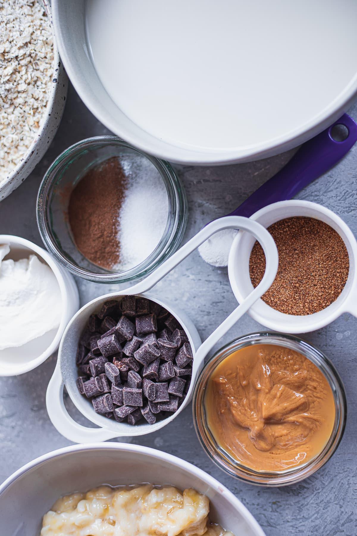 Ingredients for vegan banana bread oats