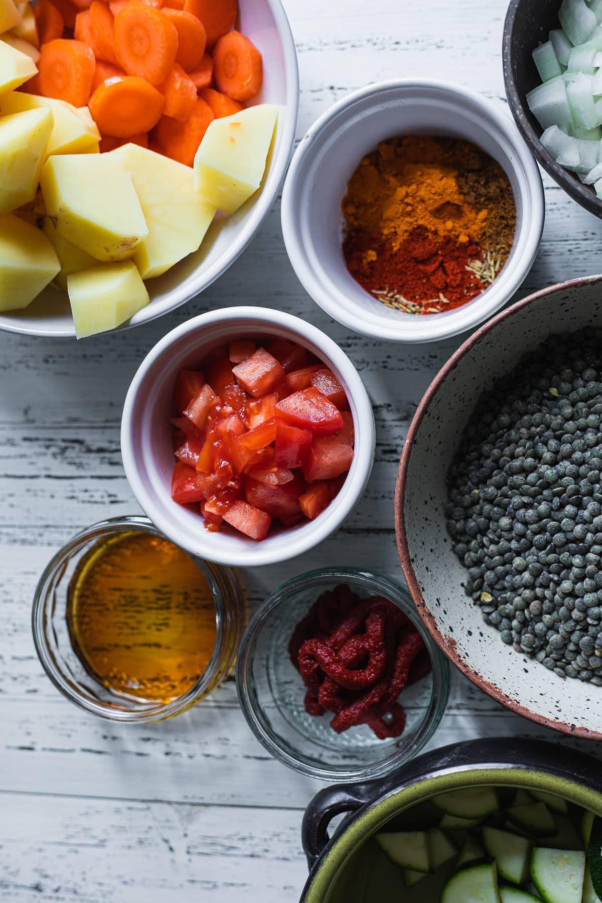 Ingredients for vegan lentil soup