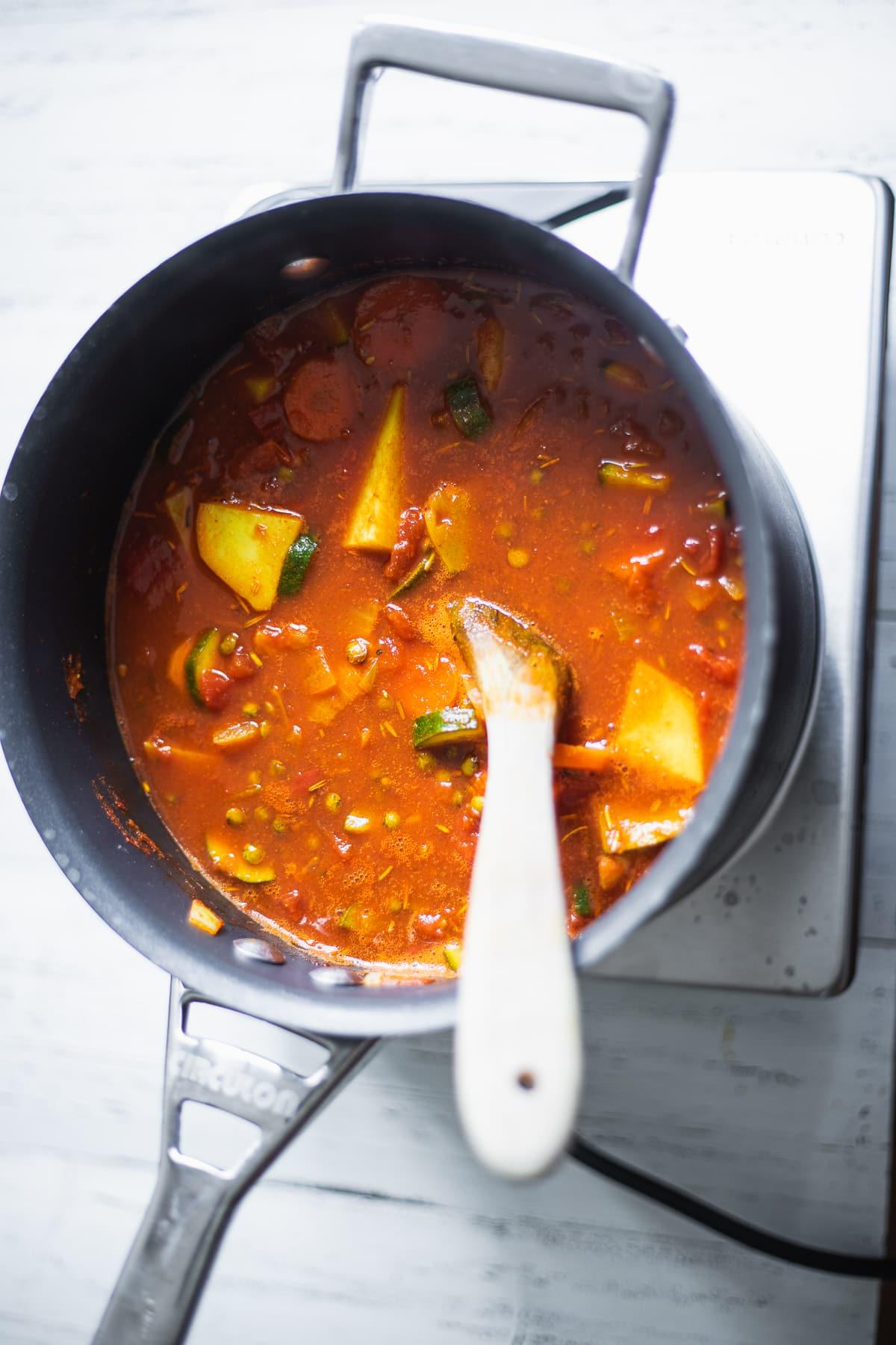 Lentil soup in a saucepan