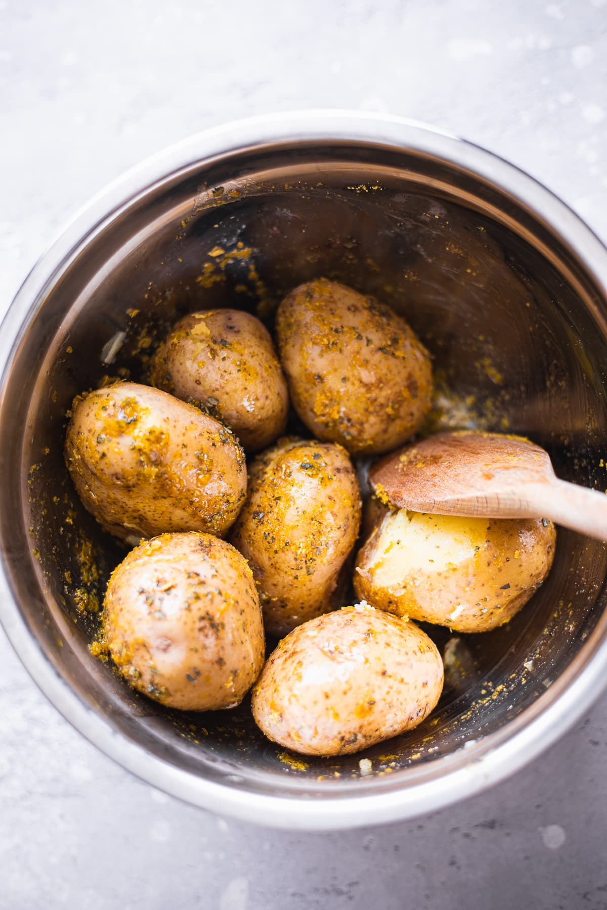Potatoes with herbs in a bowl