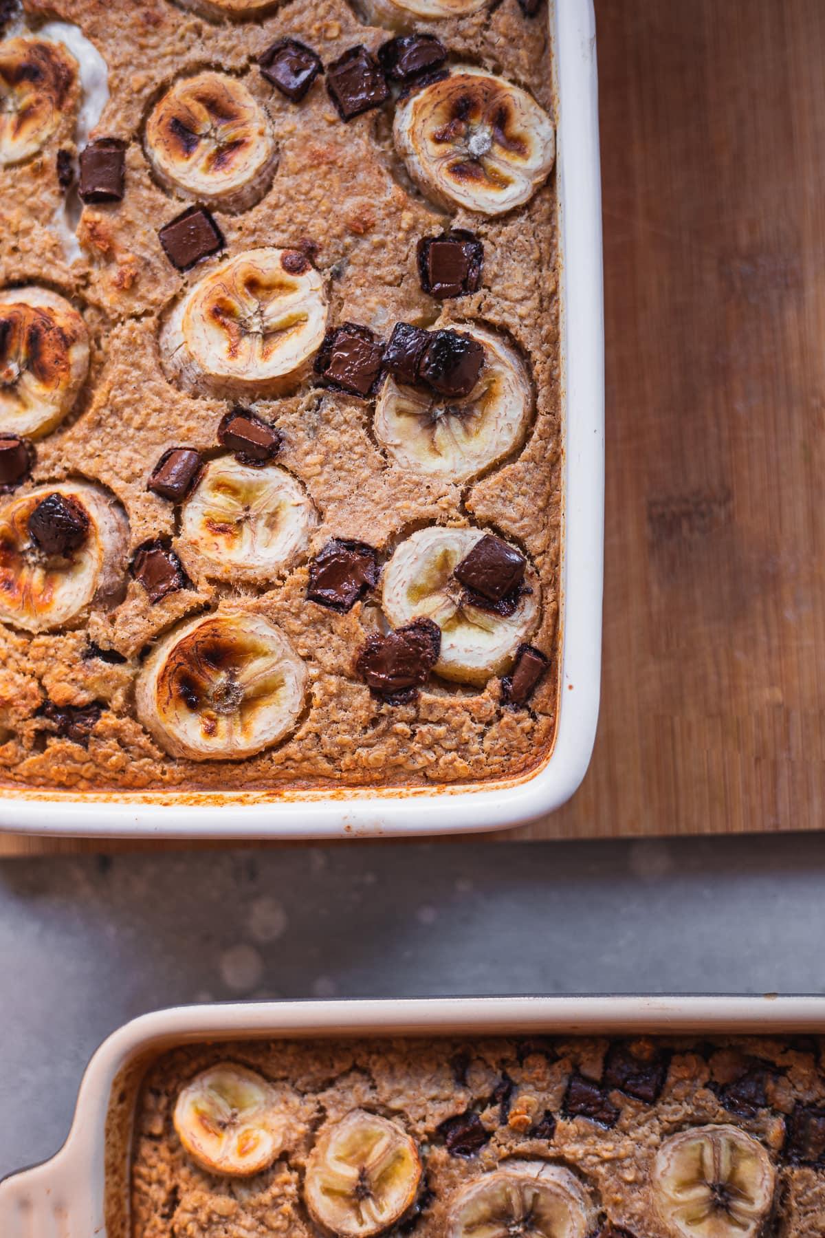 Two trays of banana bread baked oats