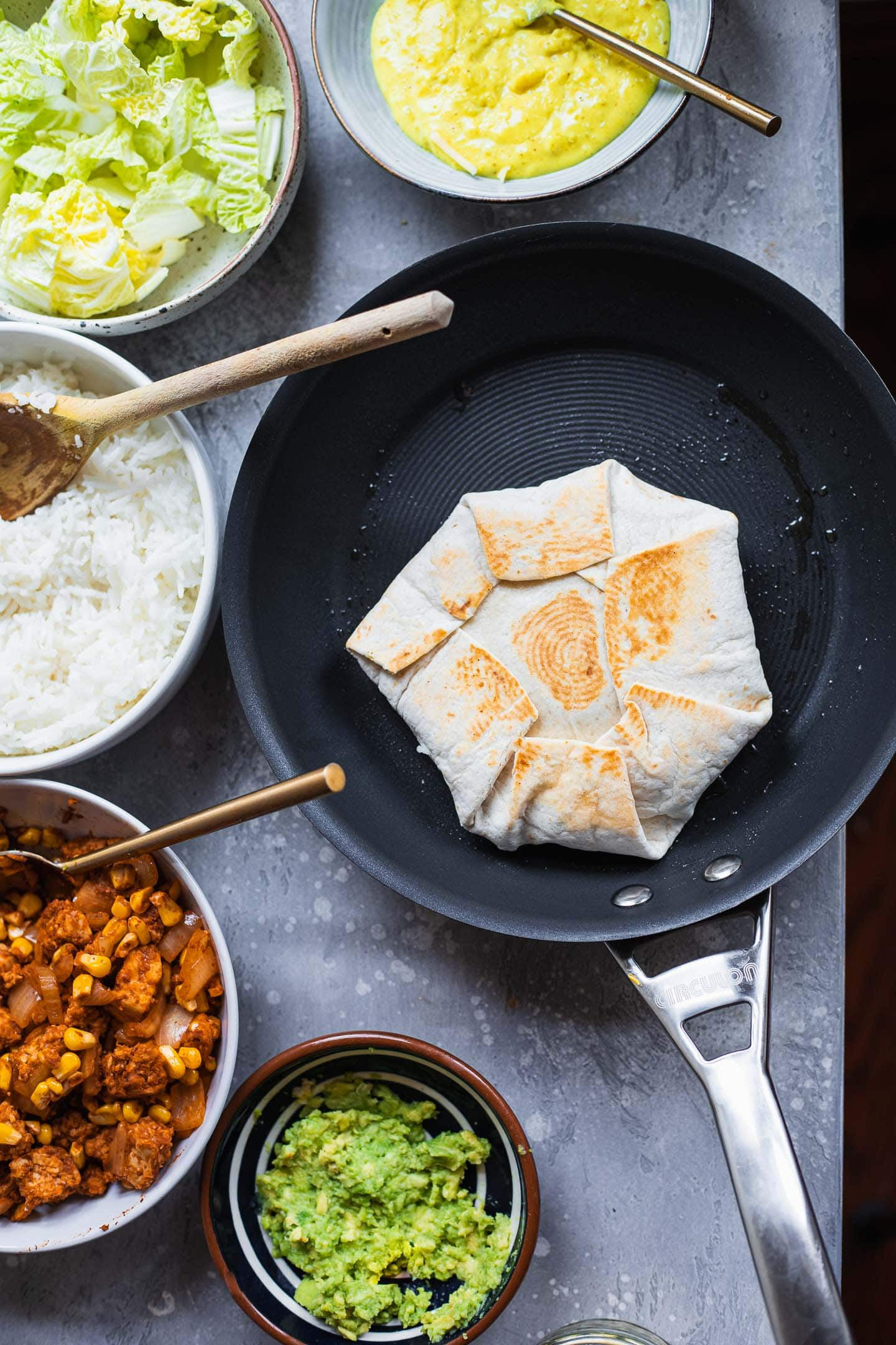 Vegan Crunchwrap Supreme in a frying pan