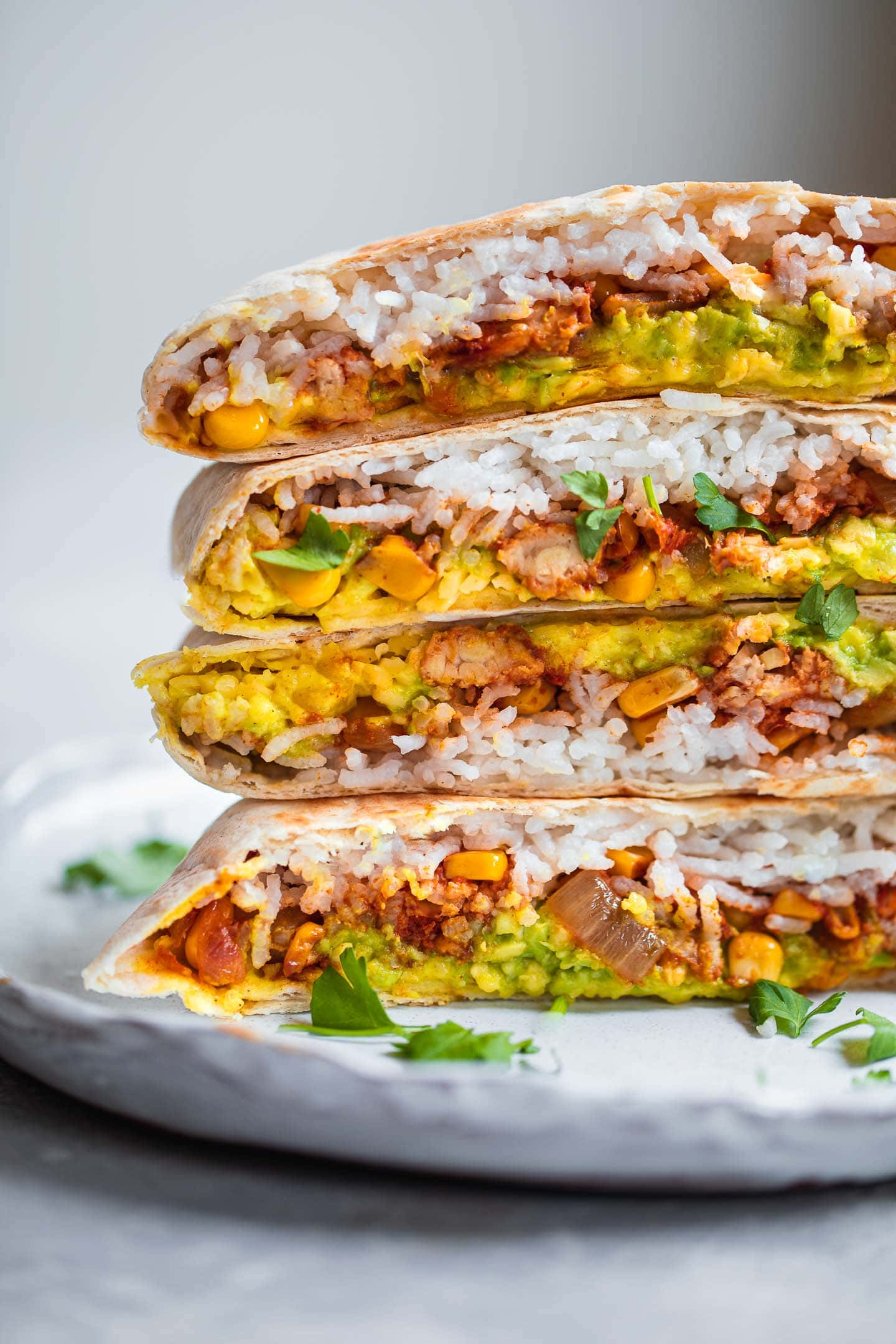 Vegan Crunchwrap with dairy-free nacho cheese on a plate