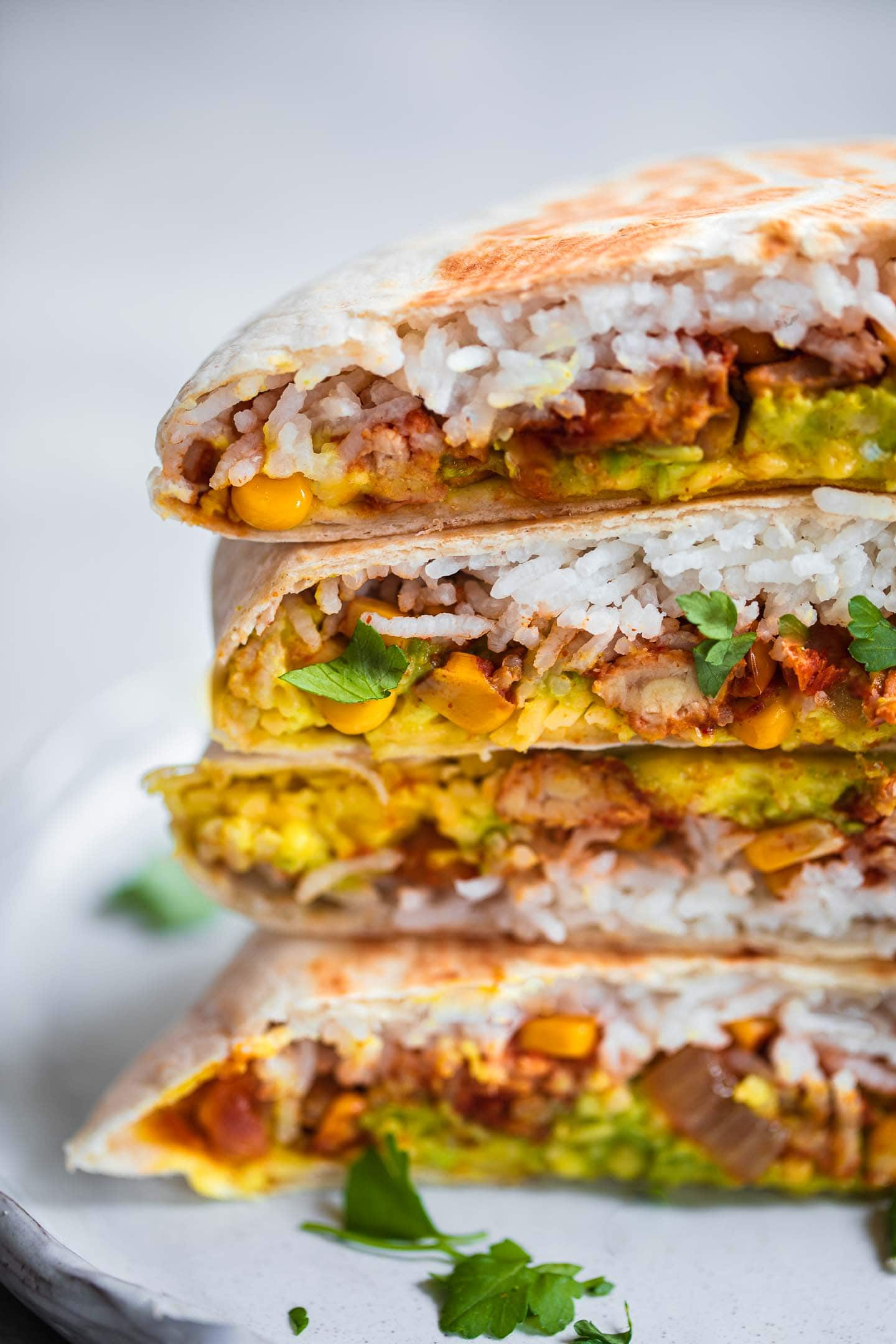Vegan Crunchwrap with tempeh on a plate