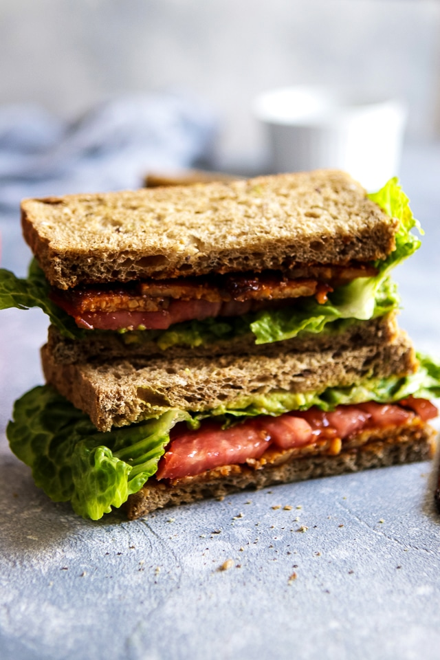 Vegan BLT sandwich stack with tempeh bacon