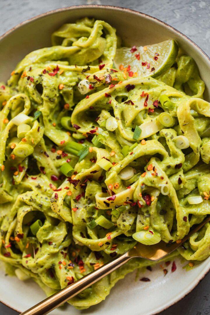 Vegan avocado pasta gluten-free