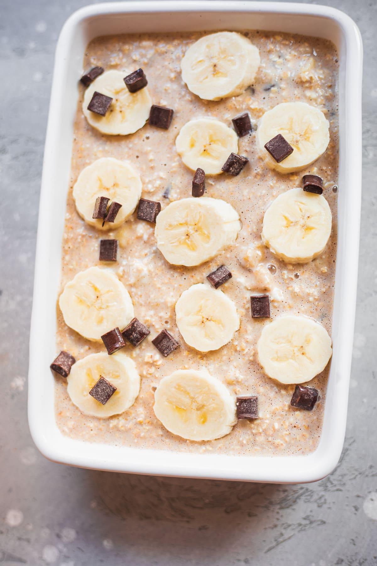 Vegan banana bread oatmeal batter in a baking dish