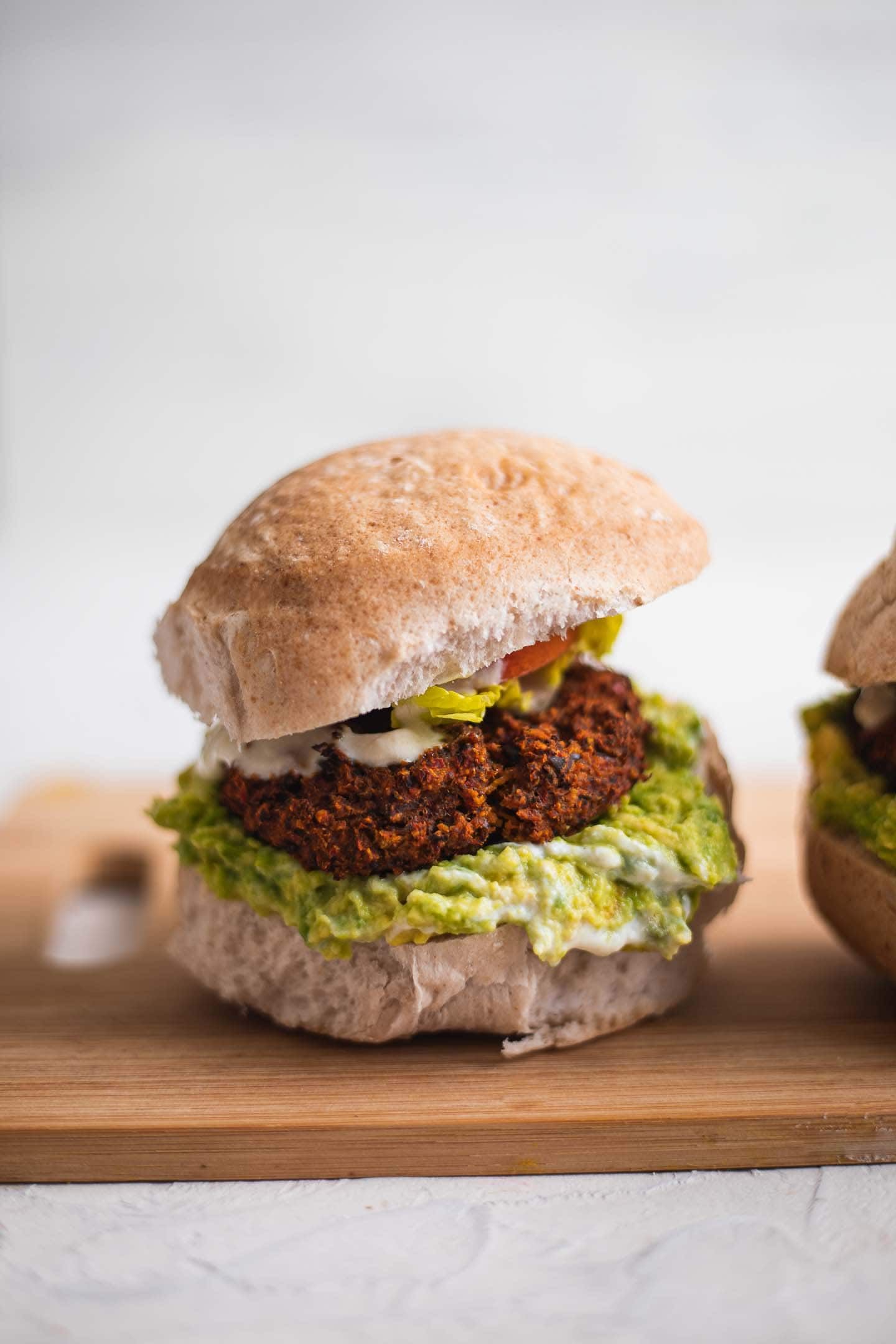 Vegan burgers with black beans and sweet potato