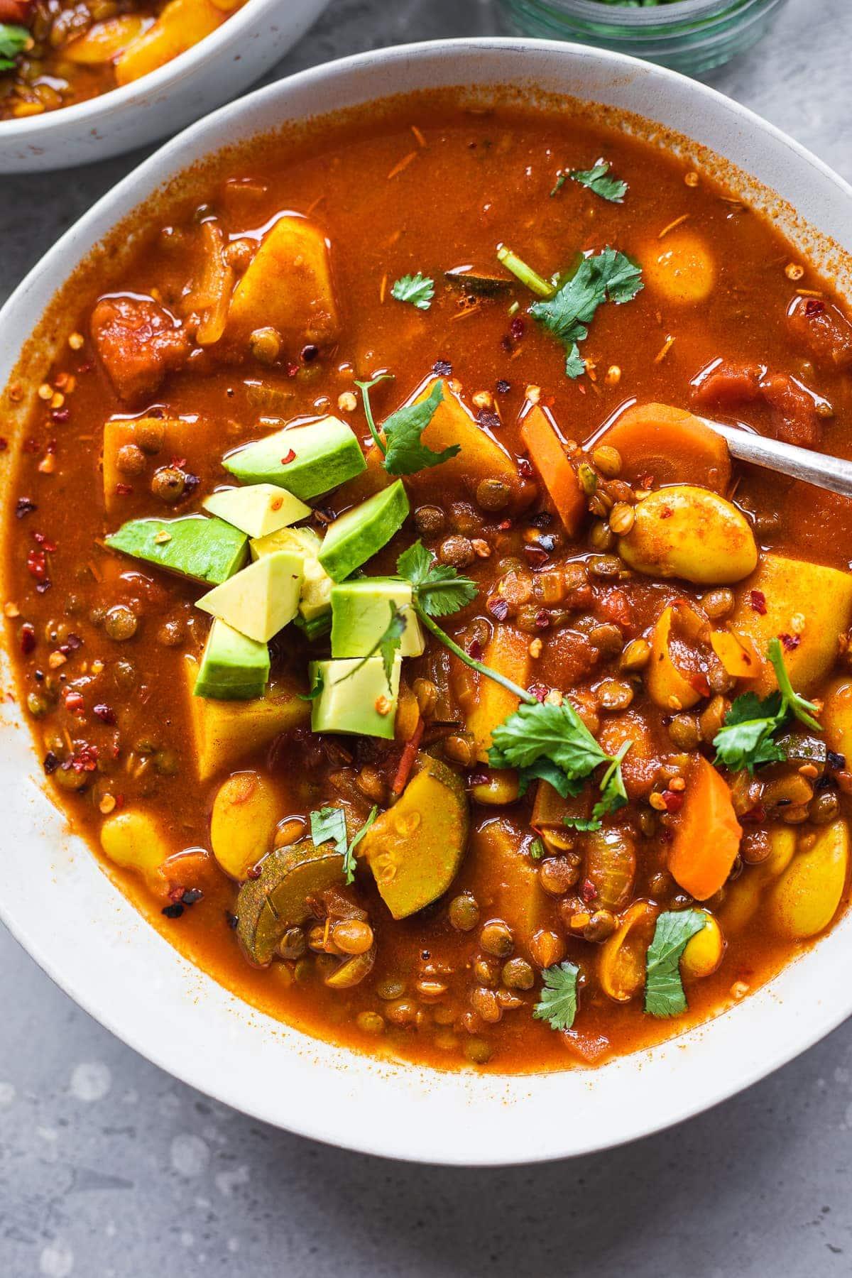 Vegan lentil soup with butter beans gluten-free