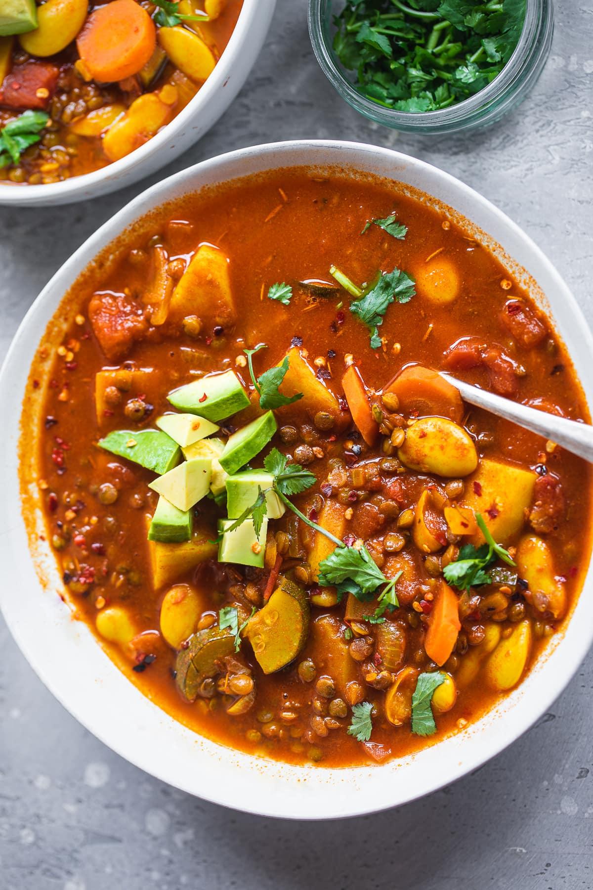 Vegan lentil soup with butter beans