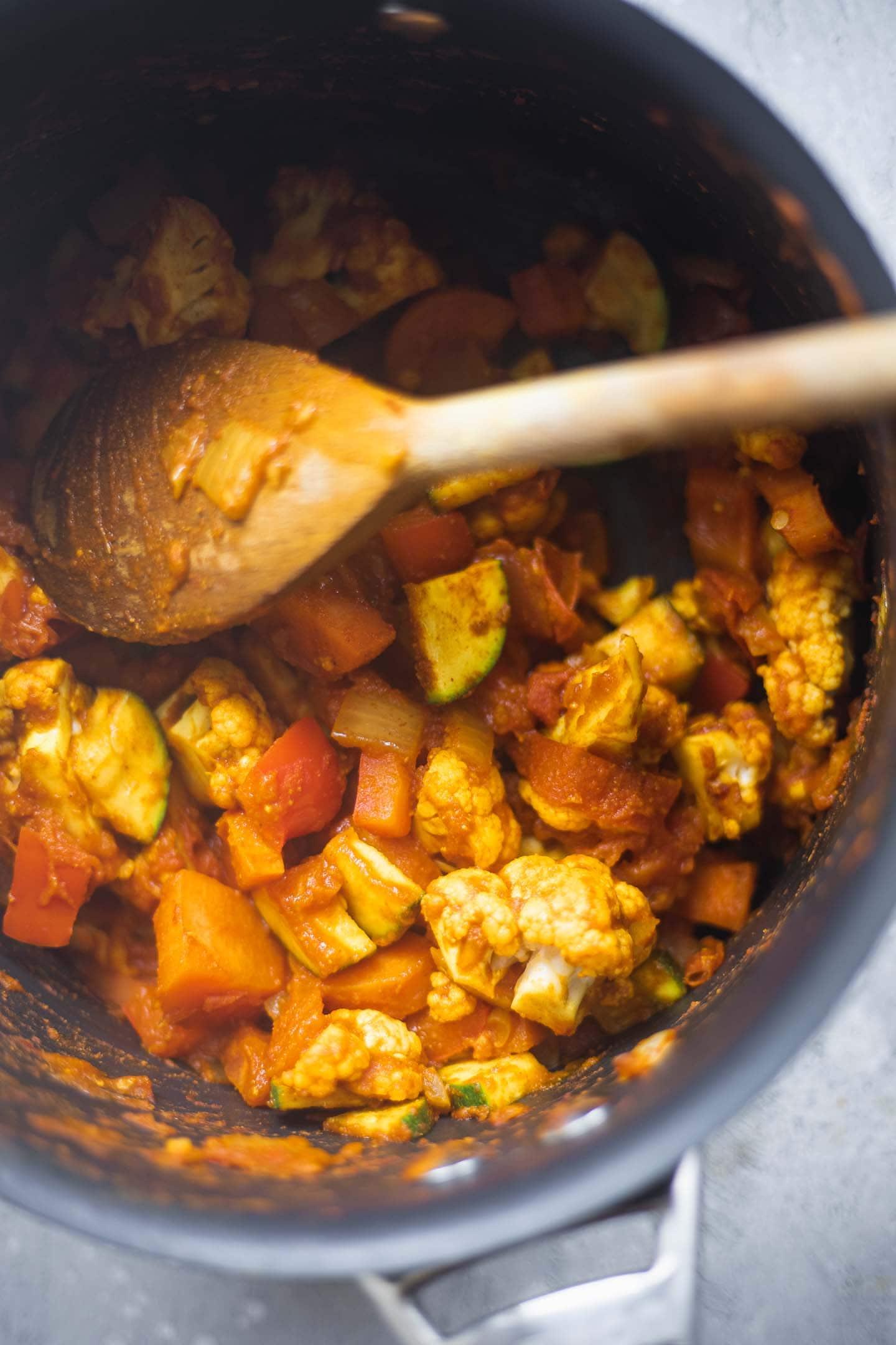 Vegetables in a pan