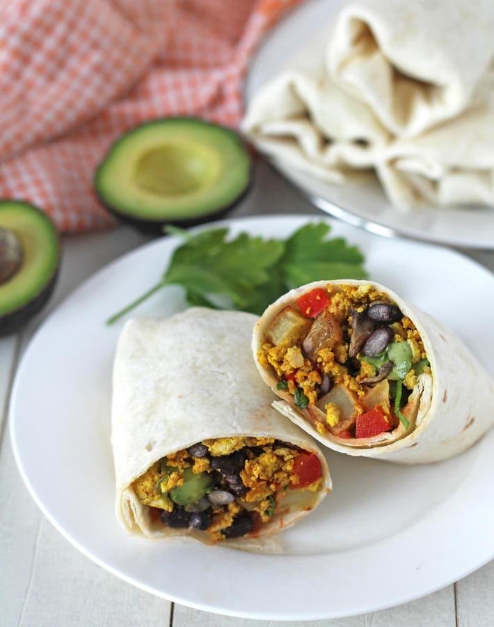 Tofu breakfast burritos with black beans and avocado