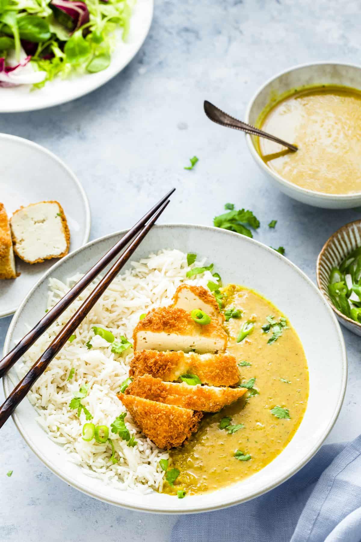 Katsu curry with panko breadcrumb tofu