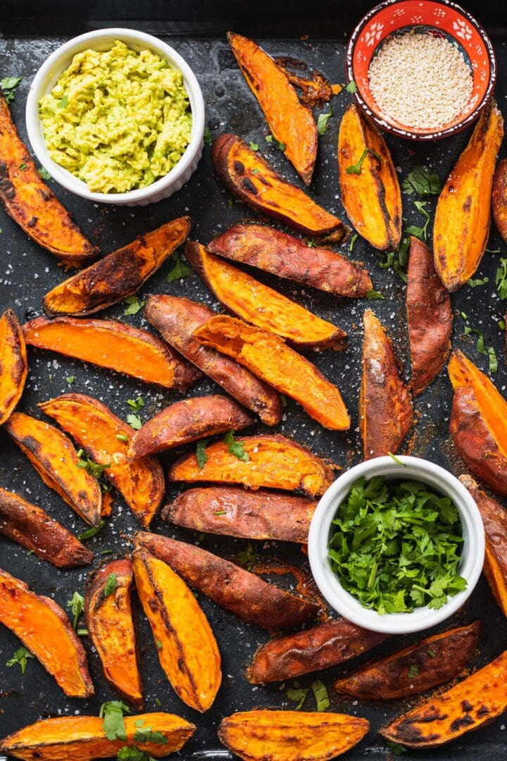 Baking tray with homemade sweet potato wedges