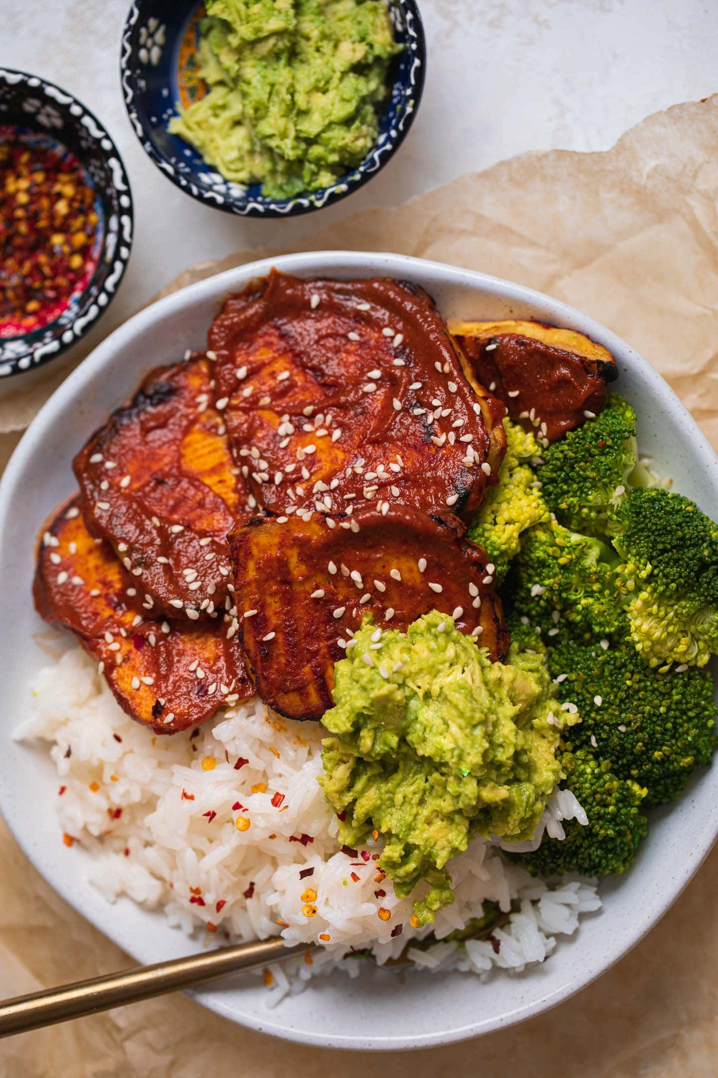 Bowl with baked tofu, broccoli and rice