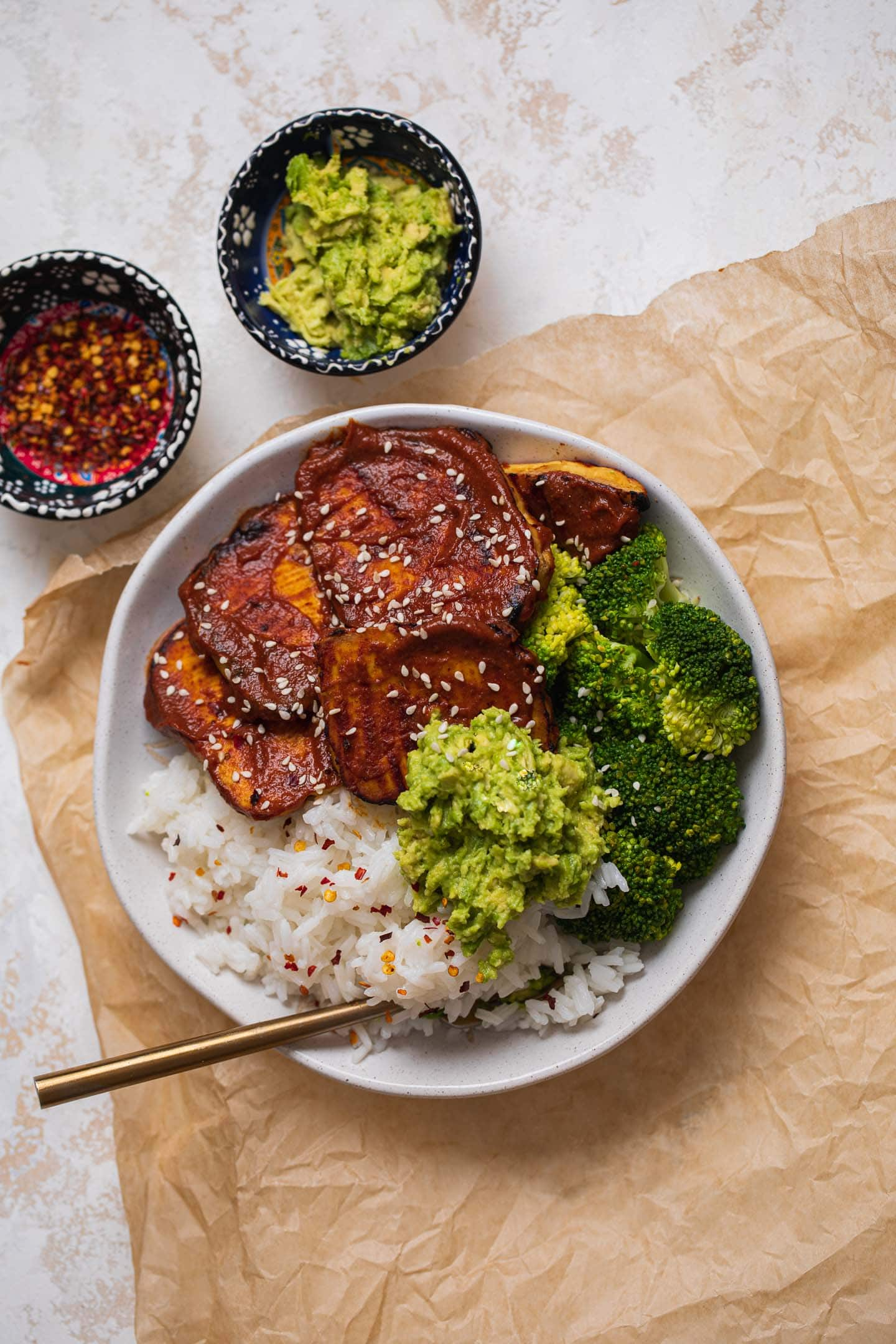 Bowl with tofu steaks, rice, and broccoli