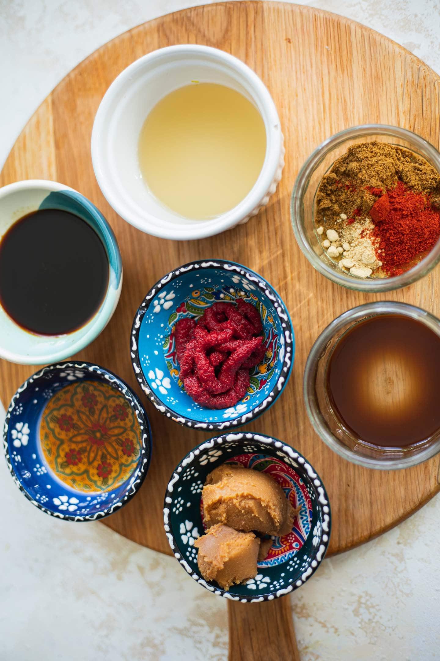 Ingredients for a vegan miso glaze