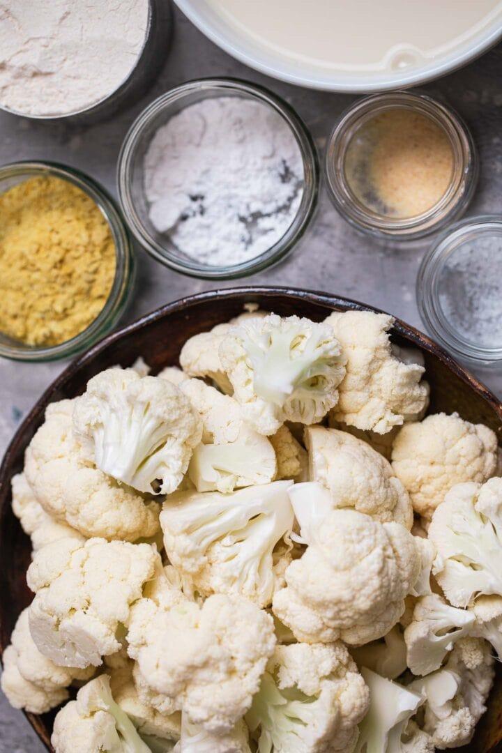 Ingredients for crispy vegan cauliflower wings