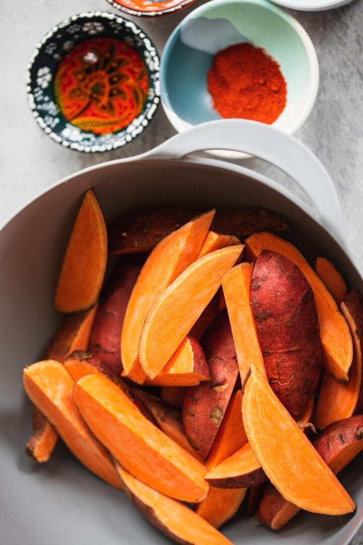 Ingredients for homemade sweet potato wedges